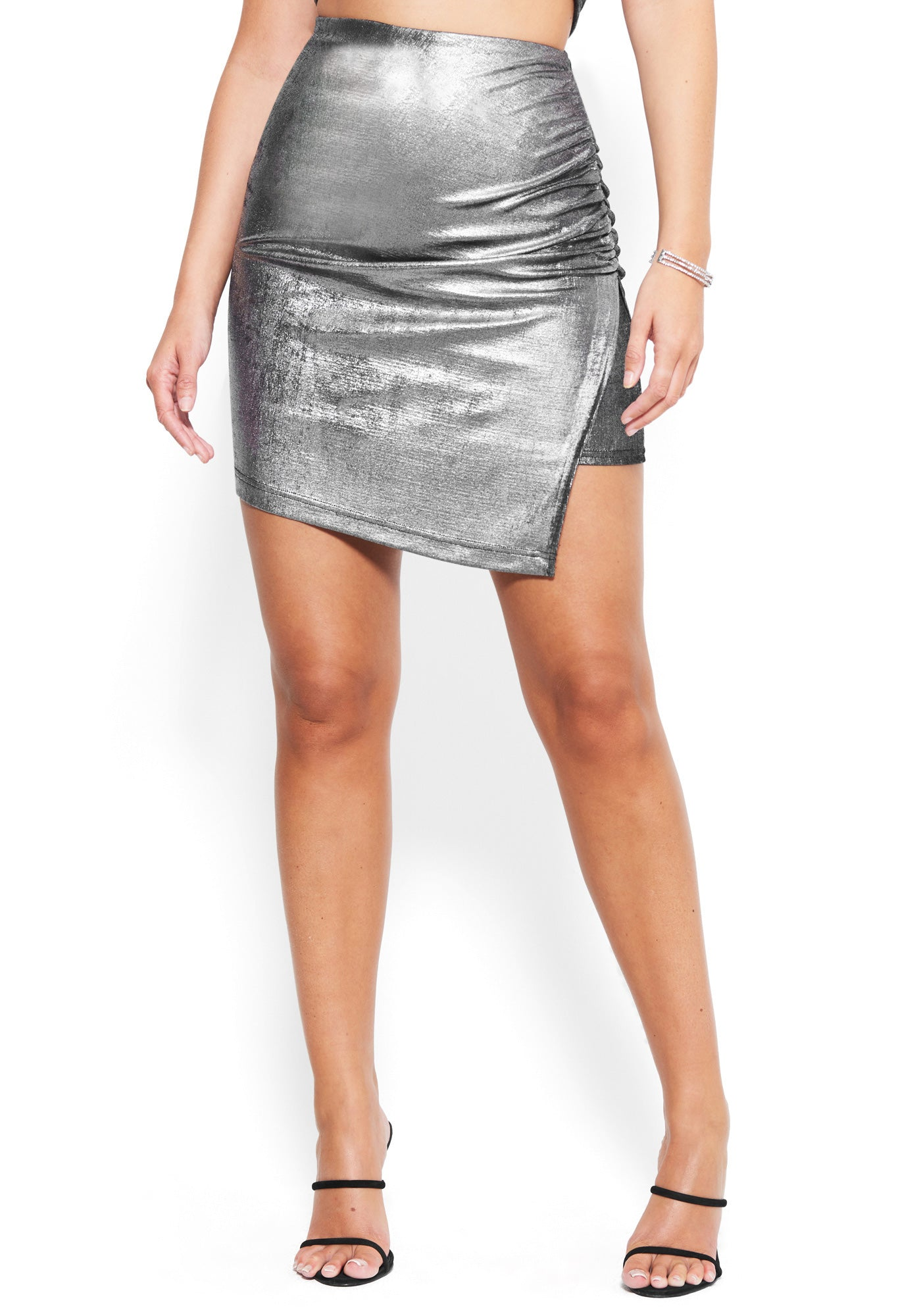Bebe Women's Metallic Silky Knit Slit Mini Skirt, Size XXS in SILVER Metal/Spandex