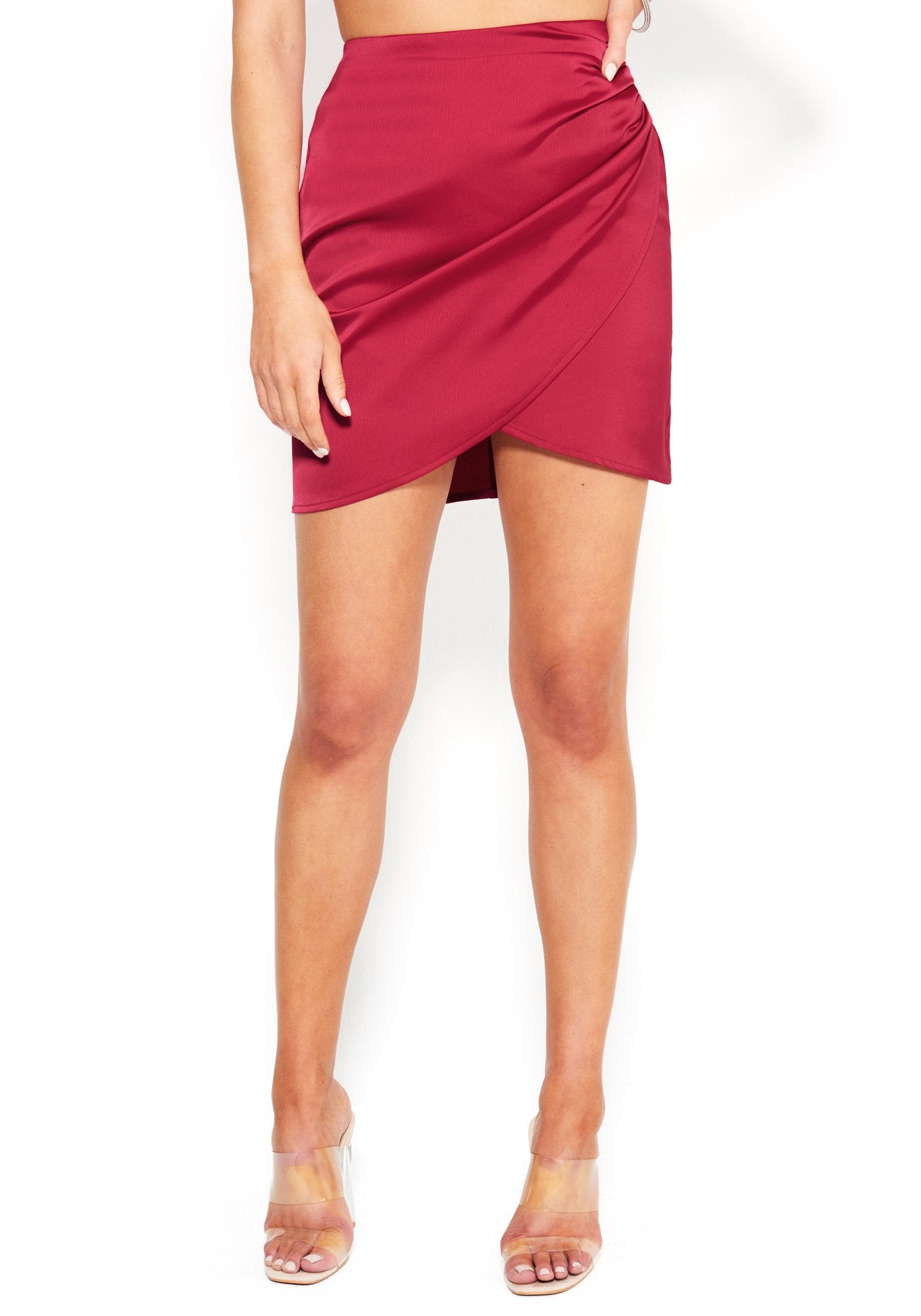 Bebe Women's Satin Overlay Mini Skirt, Size 00 in GRANITA Spandex
