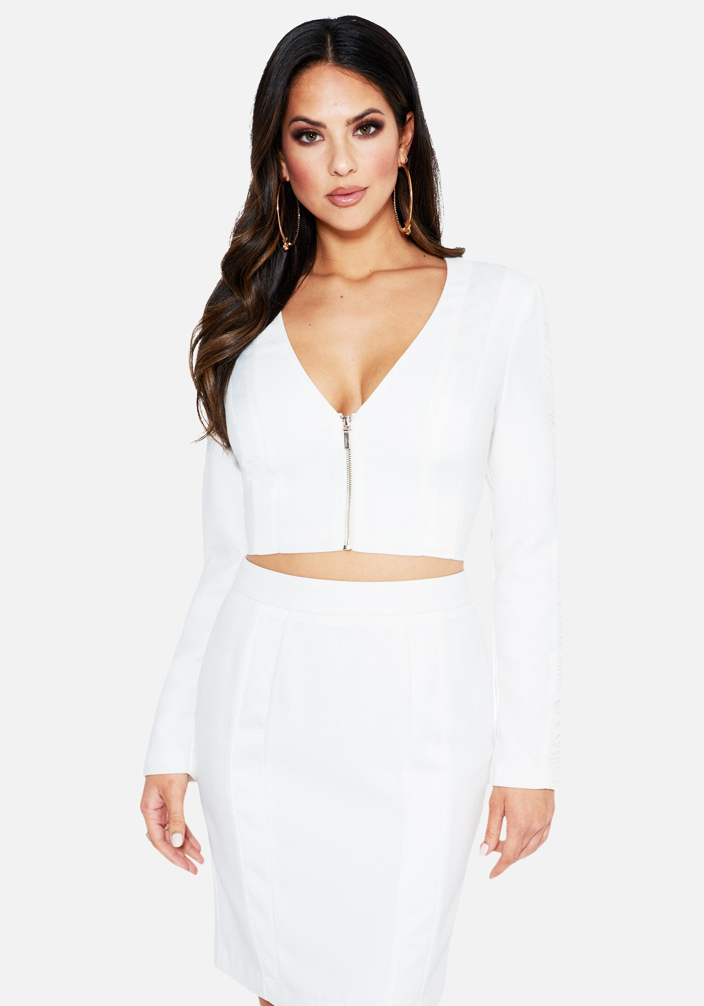 Image of Bebe Women's Insert Detail Long Sleeve Jacket, Size 0 in BRIGHT WHITE Polyester