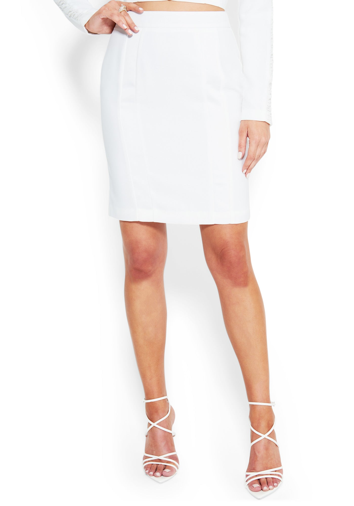 Bebe Women's Insert Detail Satin Crepe Skirt, Size 00 in BRIGHT WHITE Cotton/Spandex/Nylon