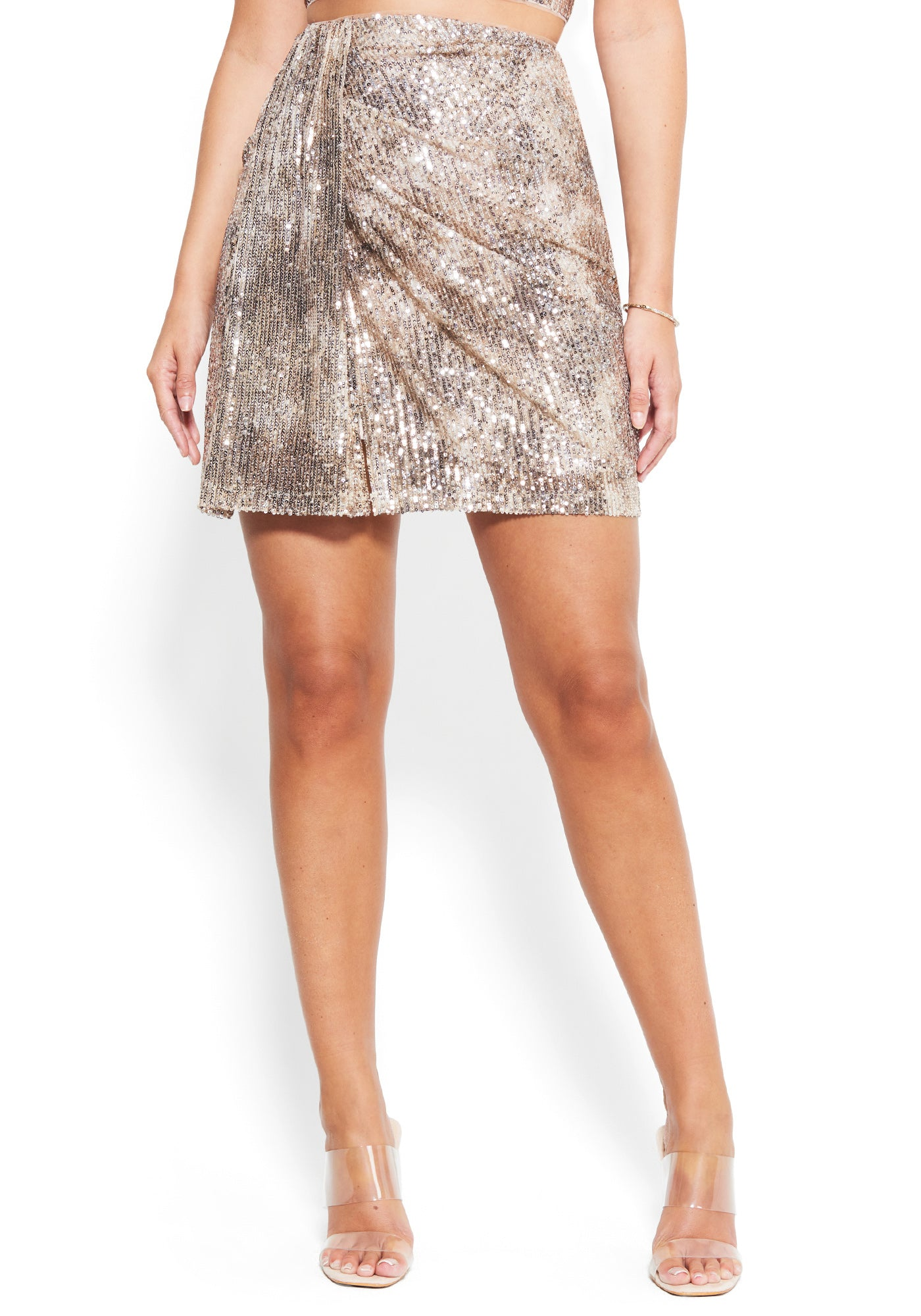 Bebe Women's Mixed Sequin Mini Skirt, Size XXS in GOLD Metal/Spandex