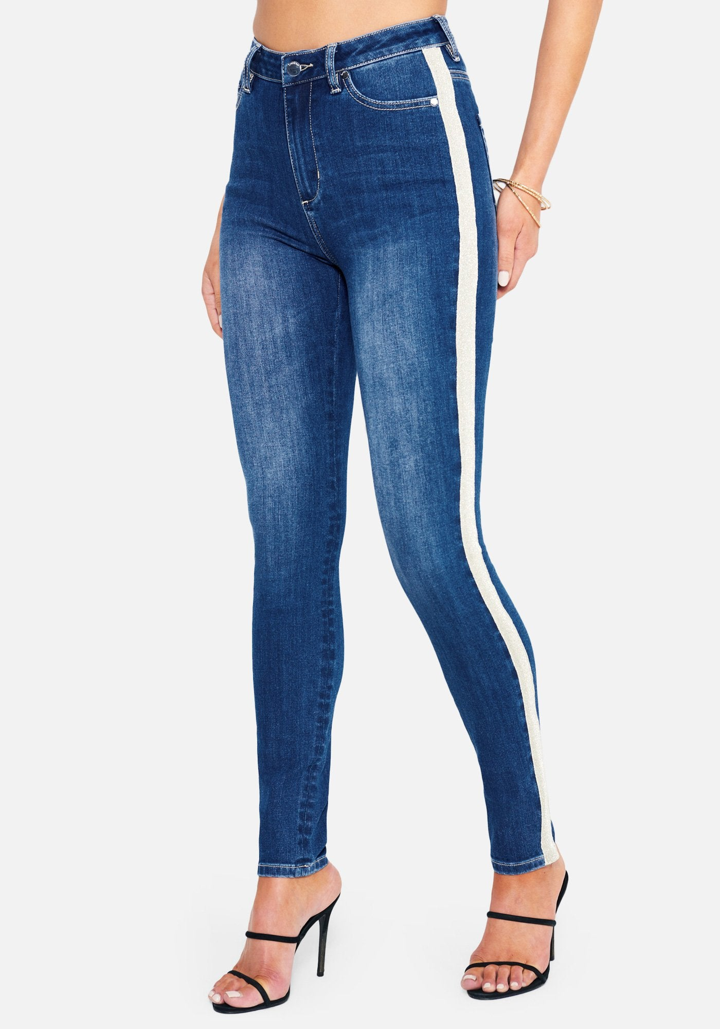 Bebe Women's Stripe Side Detail Skinny Jeans, Size 25 in MEDIUM INDIGO WASH Cotton/Spandex/Viscose