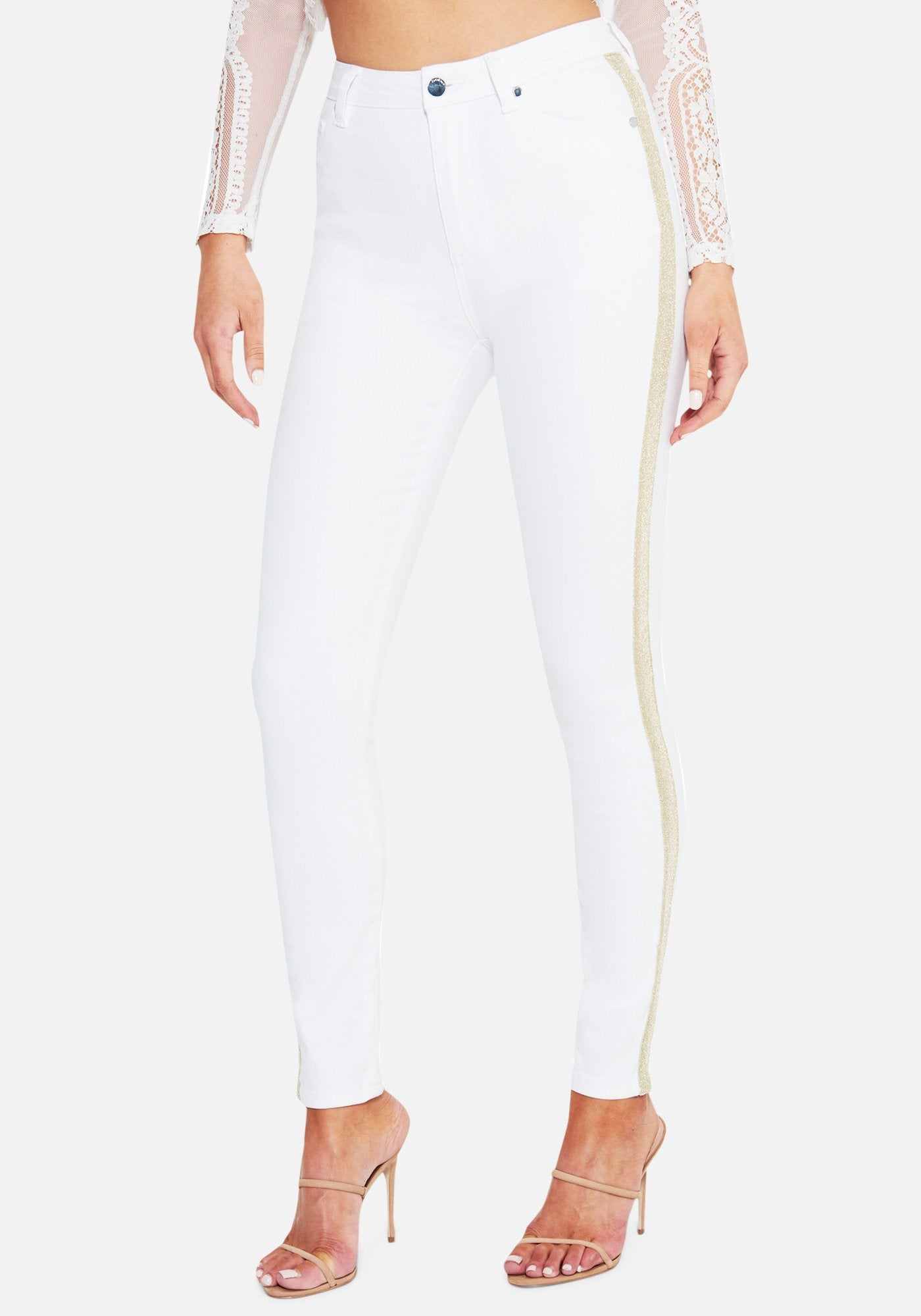 Bebe Women's Stripe Side Detail Skinny Jeans, Size 25 in WHITE Cotton/Spandex/Viscose