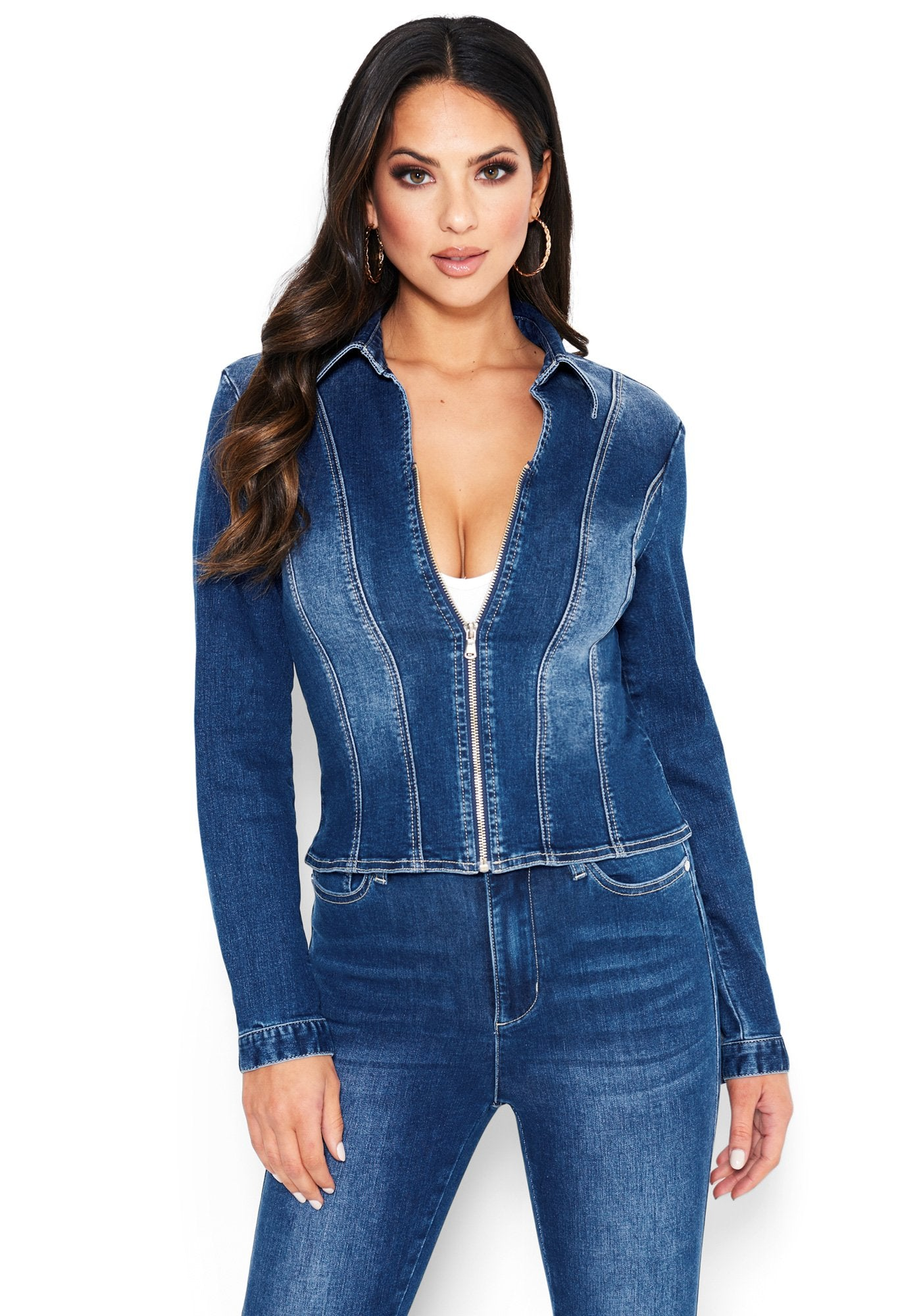 Image of Bebe Women's Deep V Zip Up Denim Jacket, Size Large in MEDIUM INDIGO WASH Cotton/Spandex