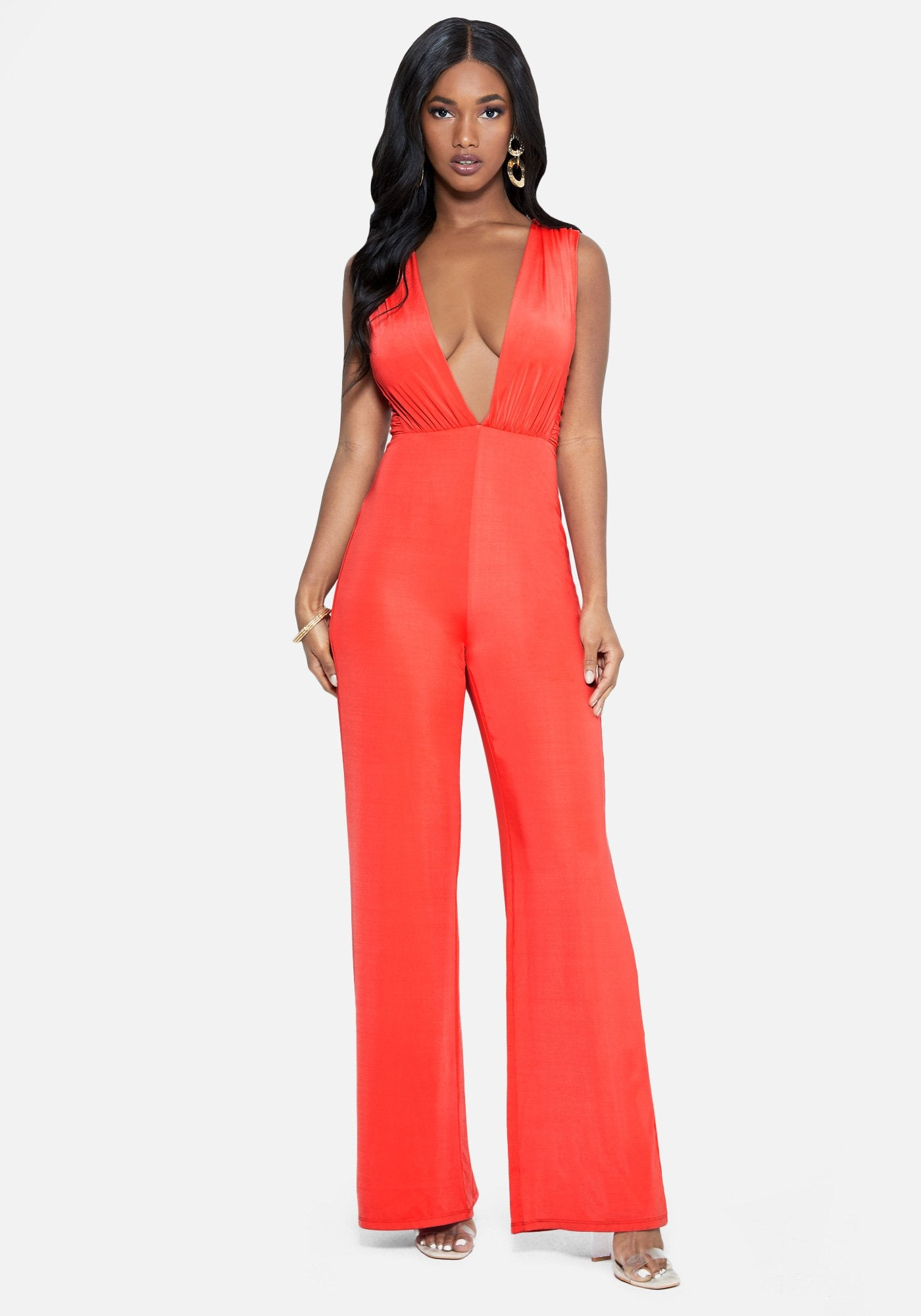 Bebe Women's Pleated Plunge Neck Jumpsuit, Size XXS in PINK ICING Cotton