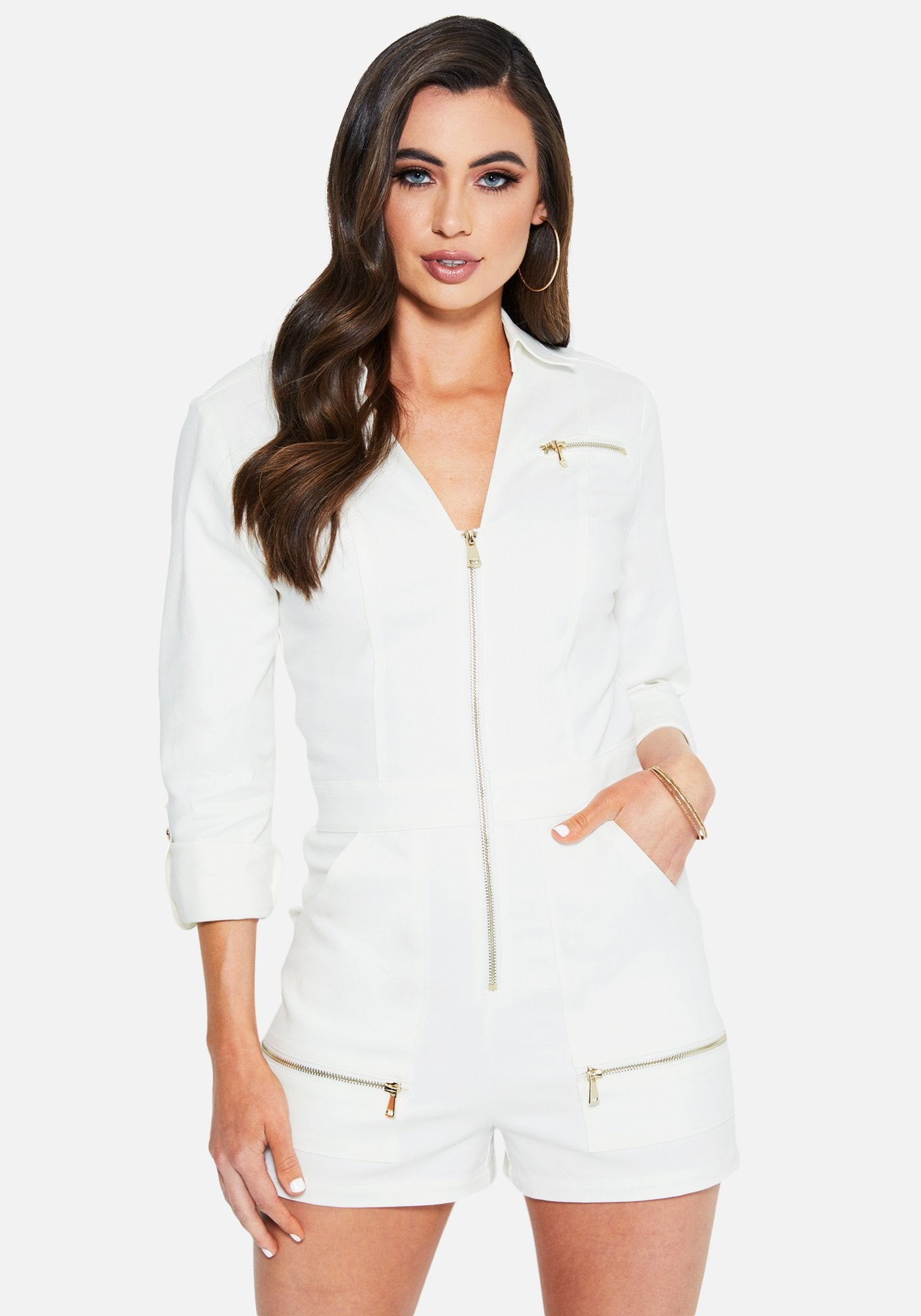 Image of Bebe Women's Zip Up Aviator Romper, Size Medium in BRIGHT WHITE Cotton/Spandex