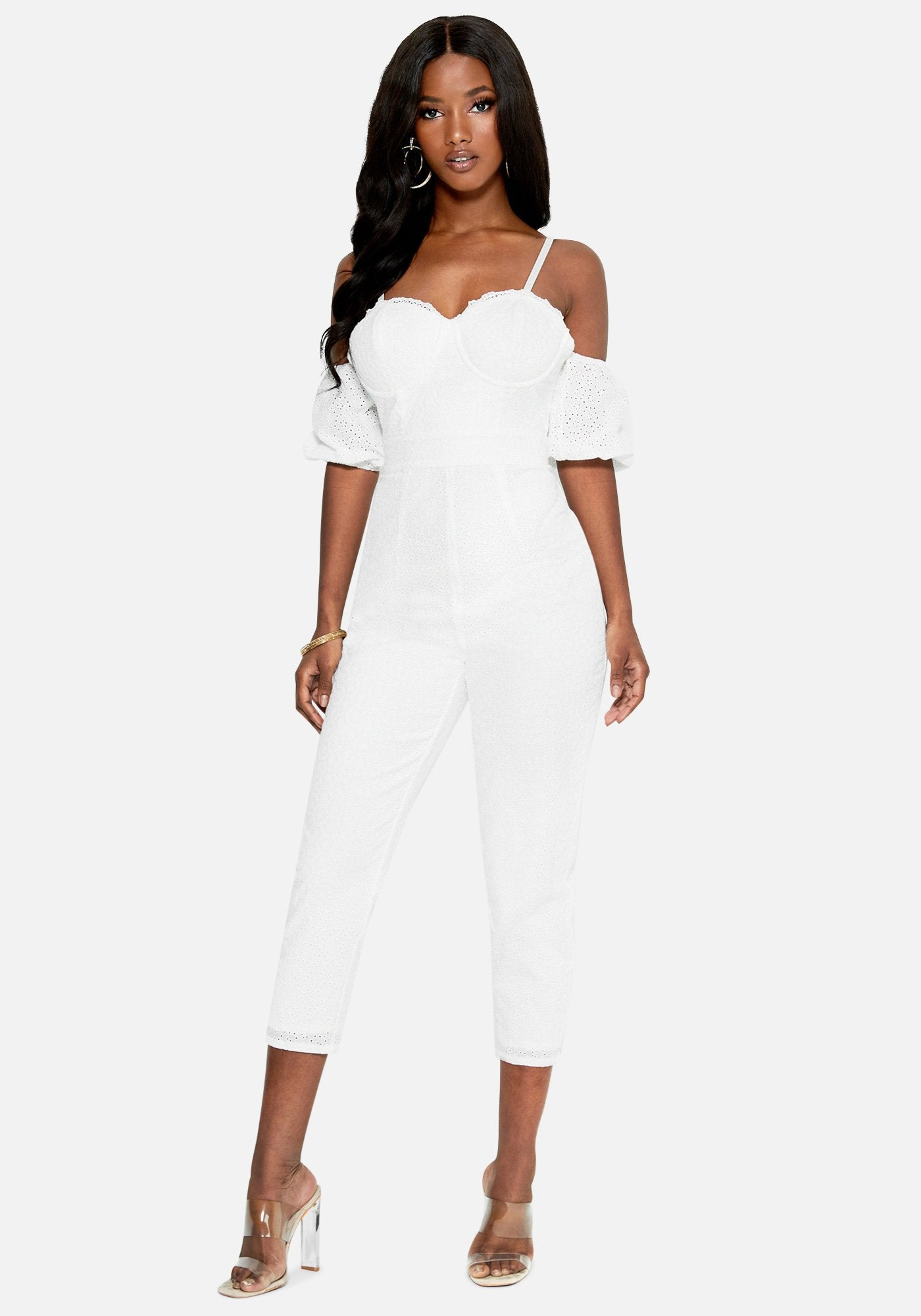 Bebe Women's Bustier Eyelet Jumpsuit, Size 00 in BRIGHT WHITE Cotton