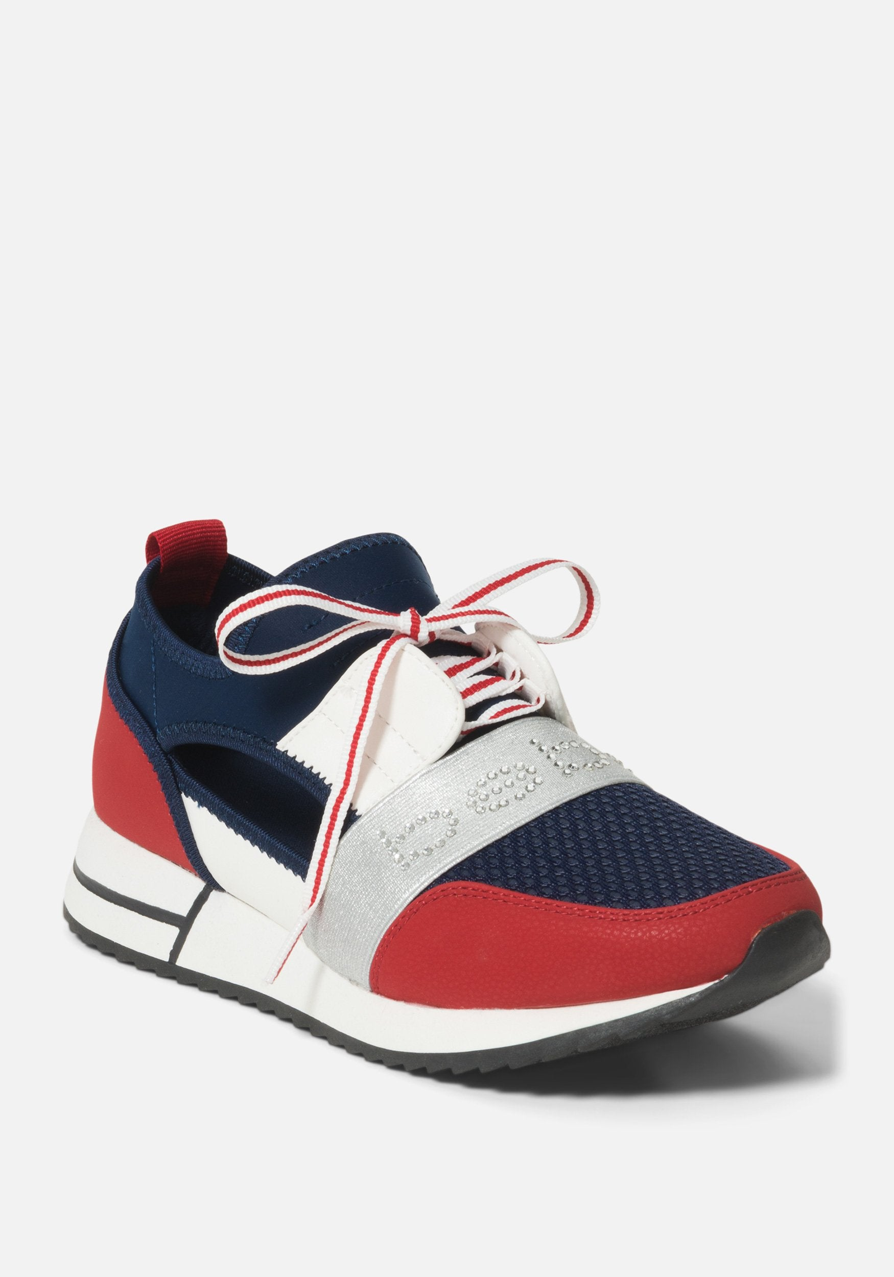 Bebe Women's Brienna Athletic Sneakers, Size 6 in Navy Blue/Red Synthetic