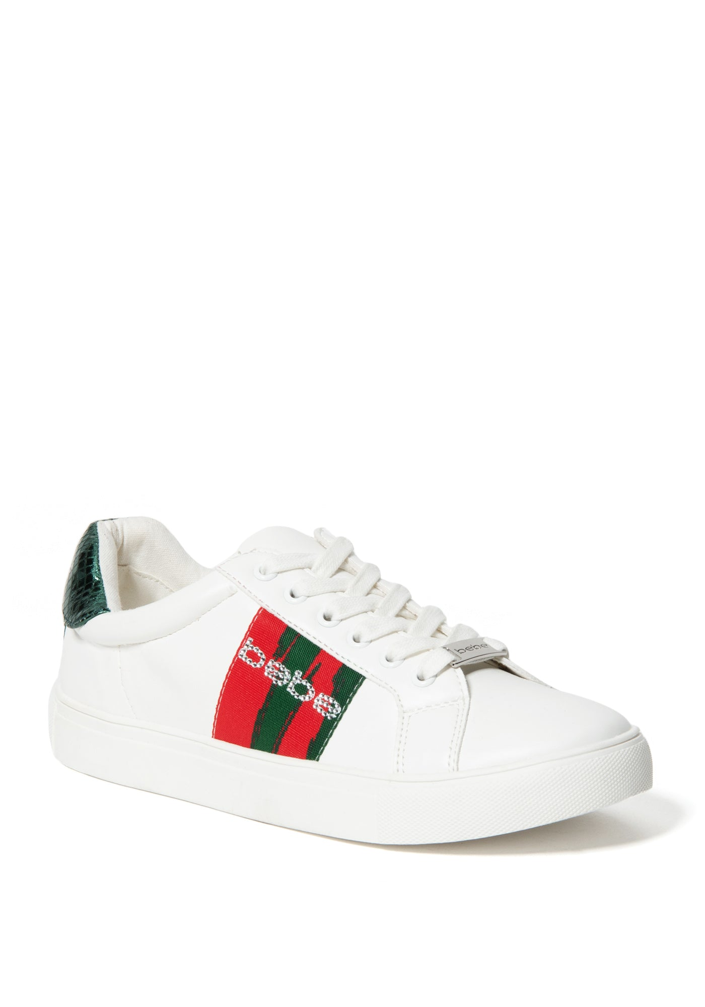 Bebe Women's Coley Logo Sneakers, Size 6 in White Green O Synthetic