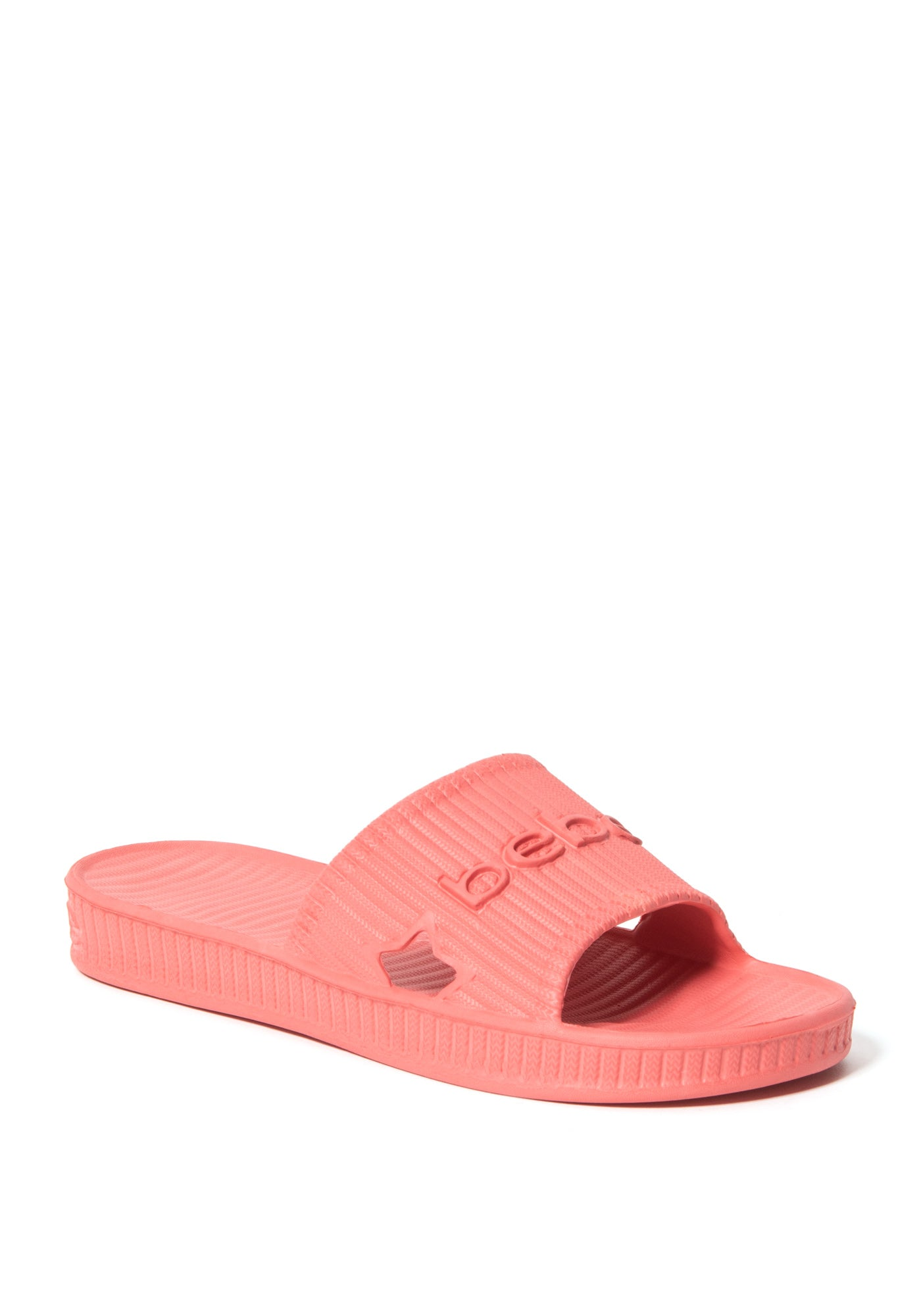 Bebe Women's Craze Logo Slides Shoe, Size 6 in Coral O Synthetic