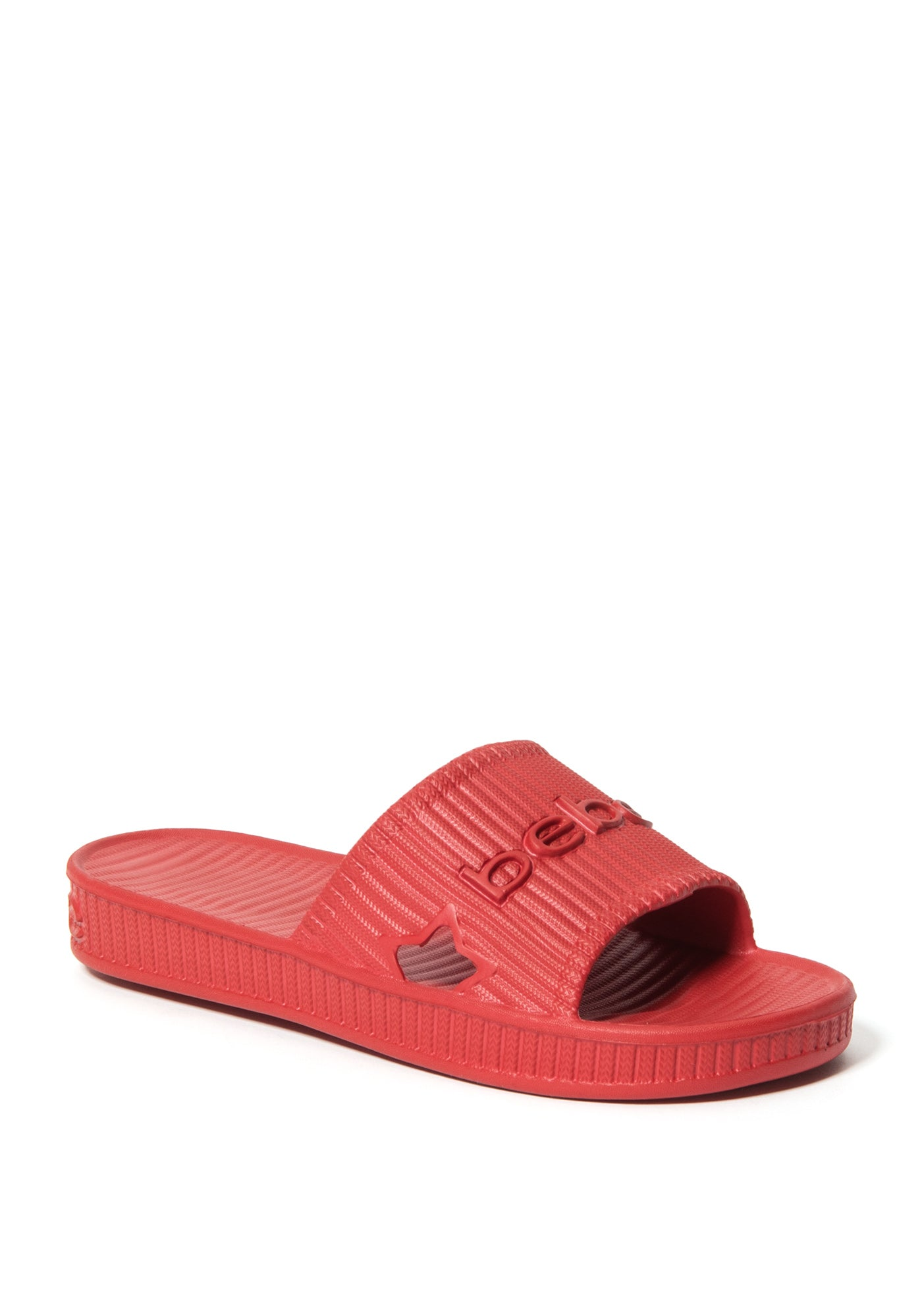 Bebe Women's Craze Logo Slides Shoe, Size 6 in Red O Synthetic