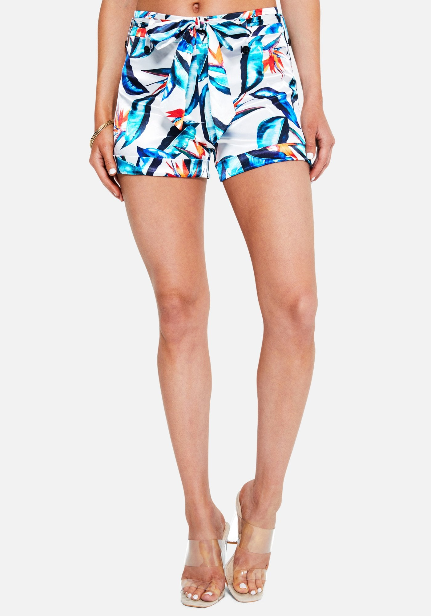 Bebe Women's Printed Satin High Waist Shorts, Size 00 in TROPICAL Spandex