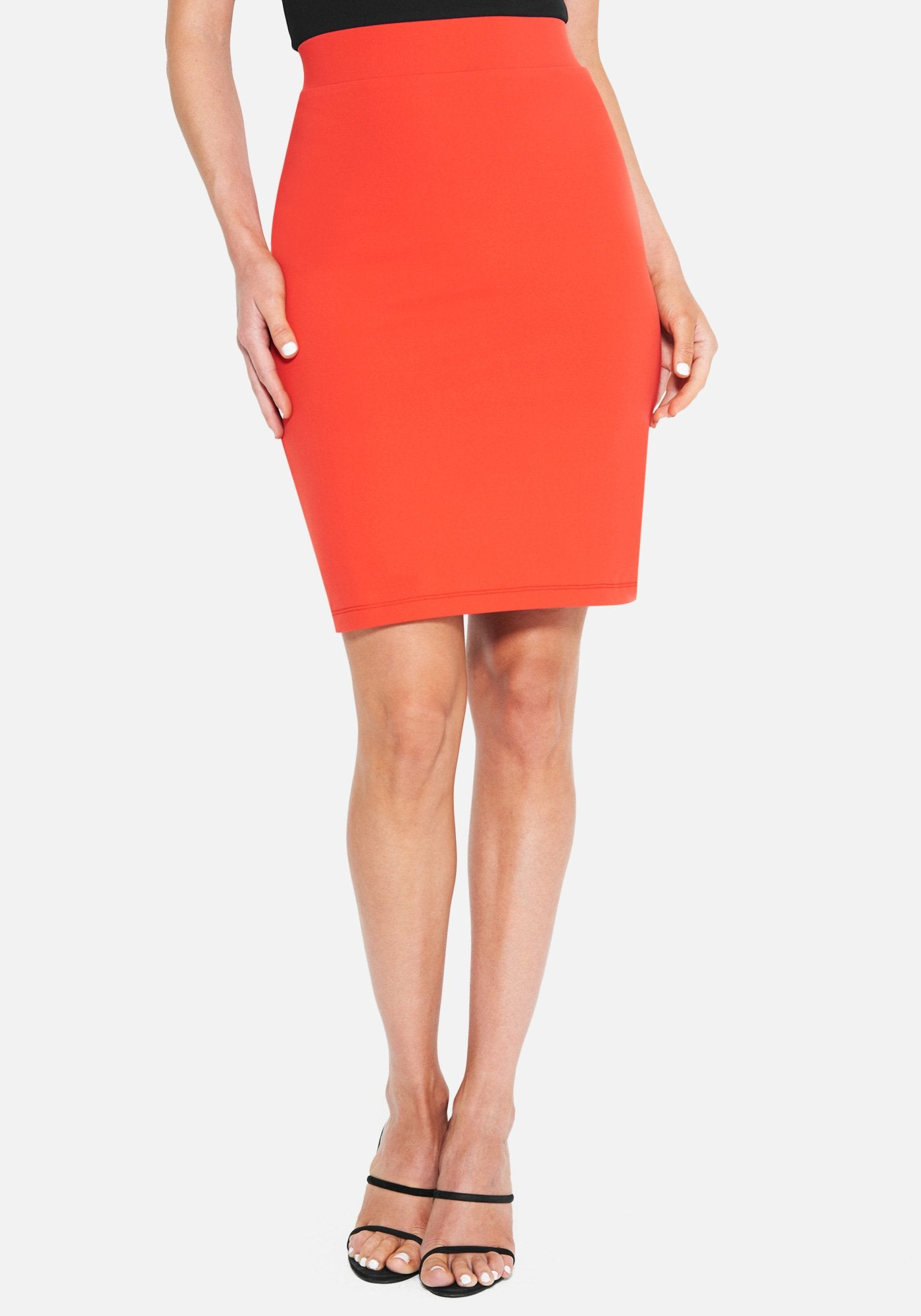 Bebe Women's Lya Midi Knit Skirt, Size XXS in FIERY RED Spandex/Nylon