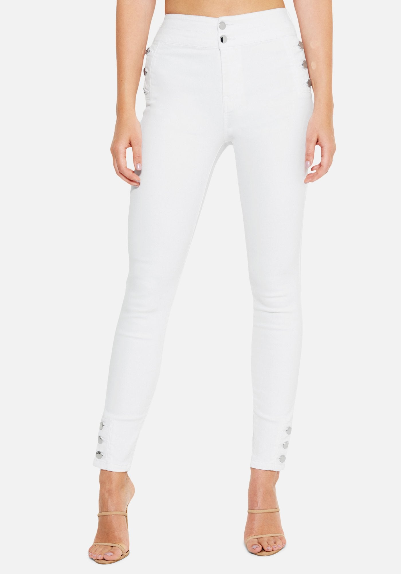 Bebe Women's Button Detail Skinny Jeans, Size 25 in WHITE Cotton/Spandex