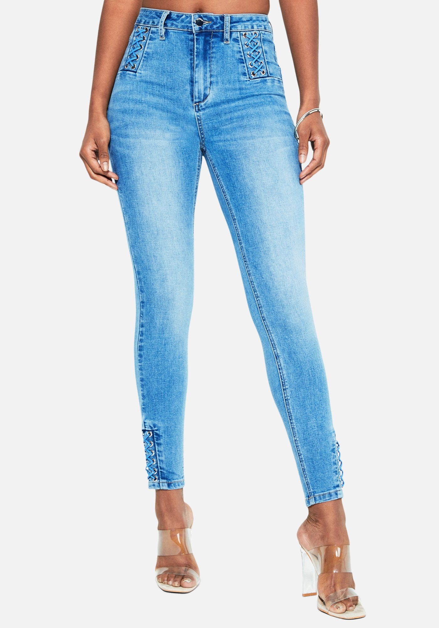 Bebe Women's Lace Detail Skinny Jeans, Size 25 in LIGHT BLUE WASH Cotton/Spandex