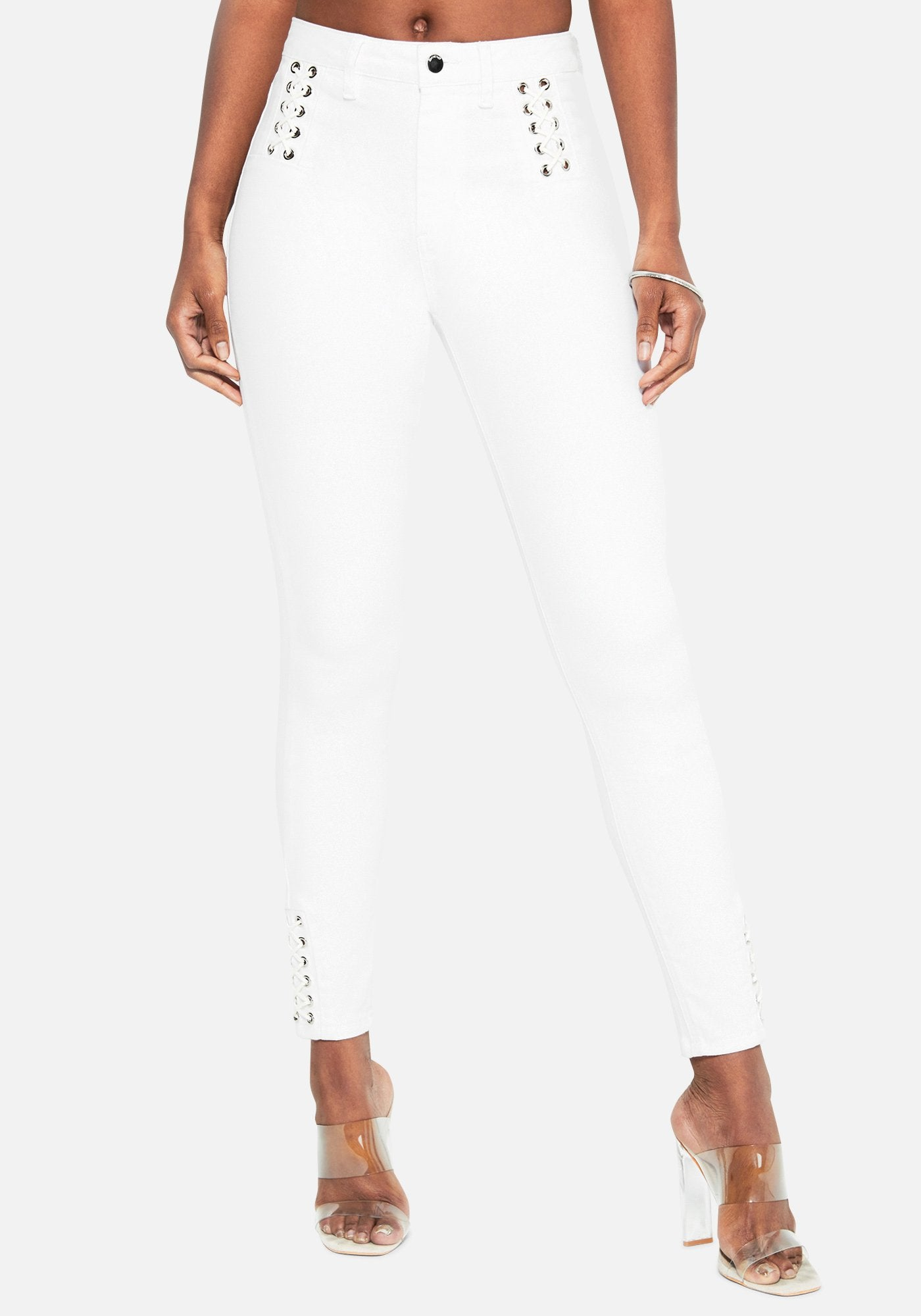 Bebe Women's Lace Detail Skinny Jeans, Size 25 in WHITE Cotton/Spandex