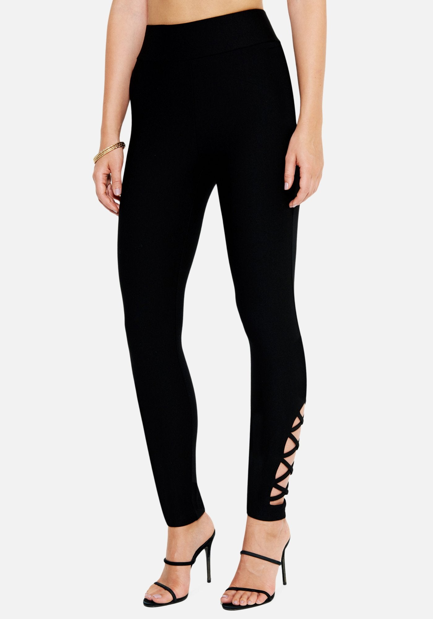 Bebe Women's Ankle Cutout Legging, Size XXS in BLACK Spandex/Nylon