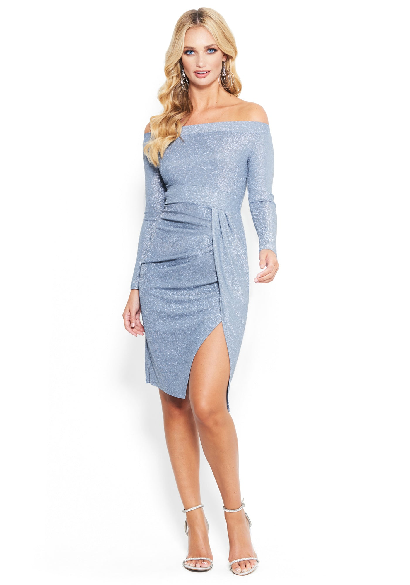 Bebe Women's Glitter Knit Off The Shoulder Slit Dress, Size XXS in PEARL BLUE Spandex/Nylon