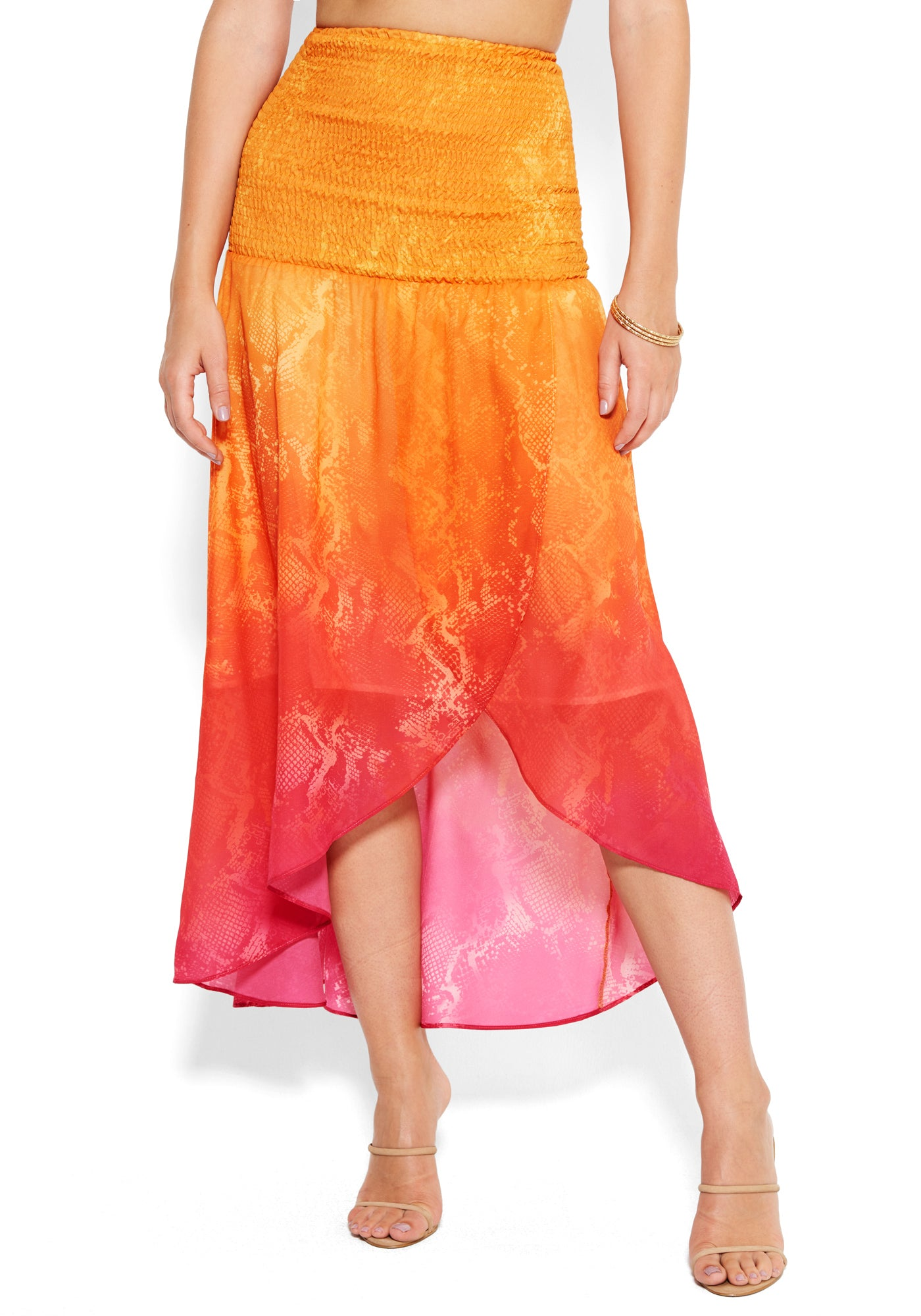 Bebe Women's Printed High Low Maxi Skirt, Size XXS in SUNSET OMBRE Polyester