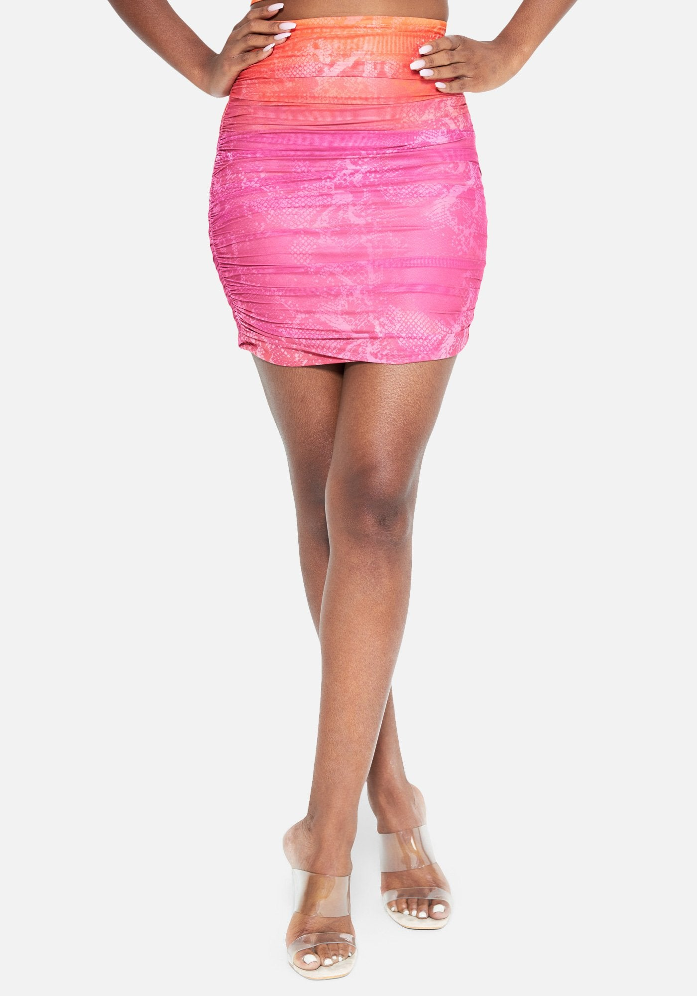 Bebe Women's Eden Printed Ruched Mesh Skirt, Size XXS in Sunset Ombre Spandex