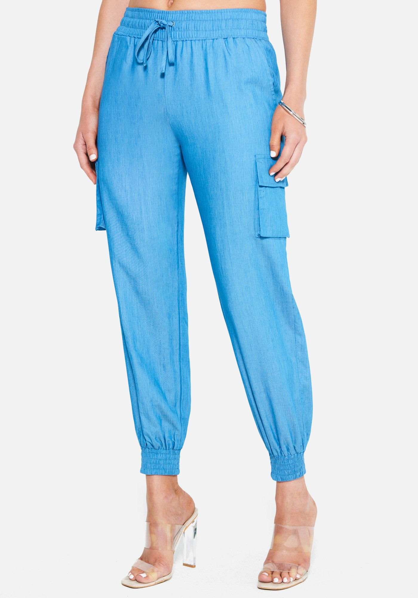 Bebe Women's Chambray Smocked Cargo Jogger Pant, Size XXS in Light Blue Wash