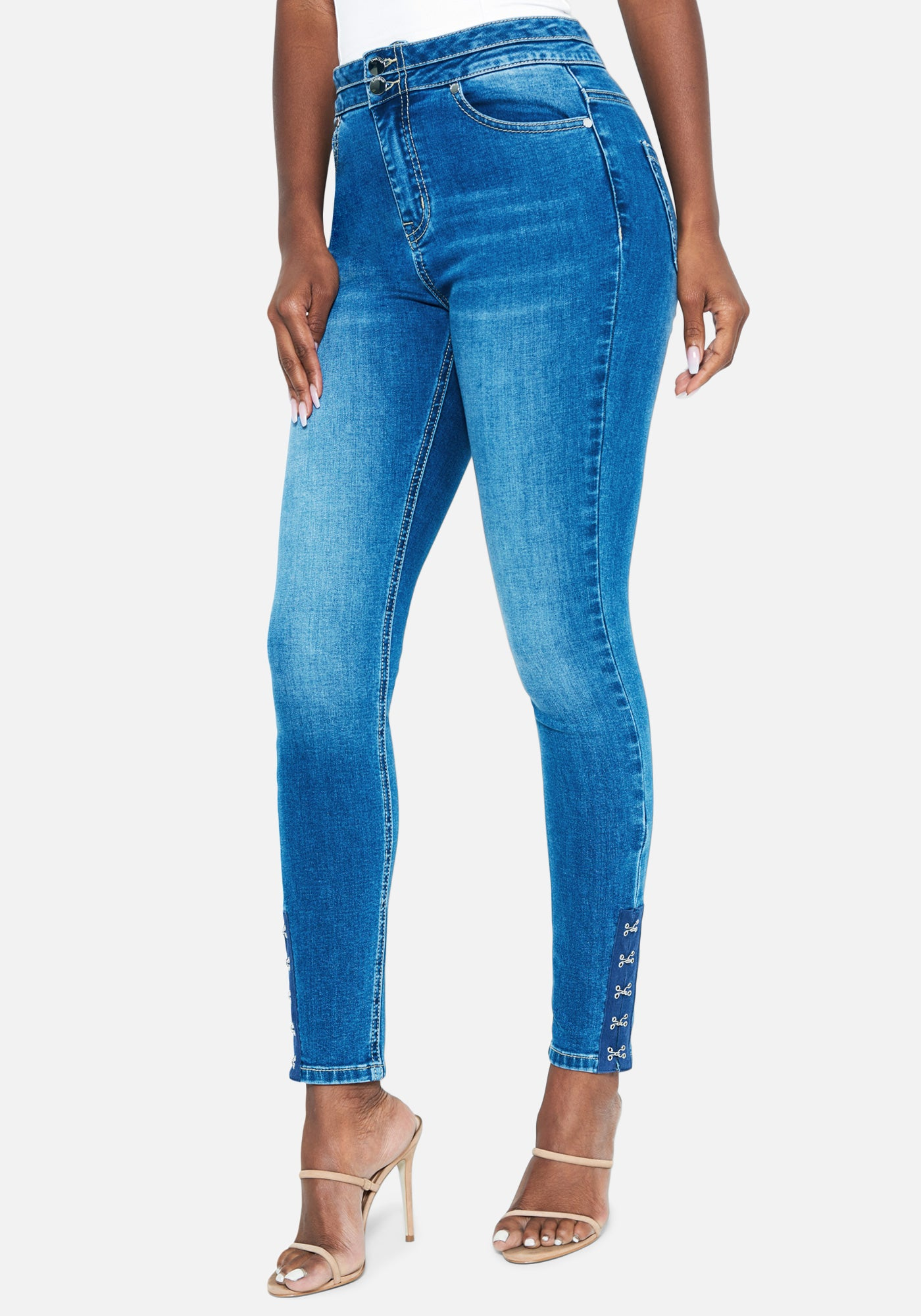 Bebe Women's Hook & Eye Detail Skinny Jeans, Size 25 in MED INDIGO WASH Cotton/Spandex
