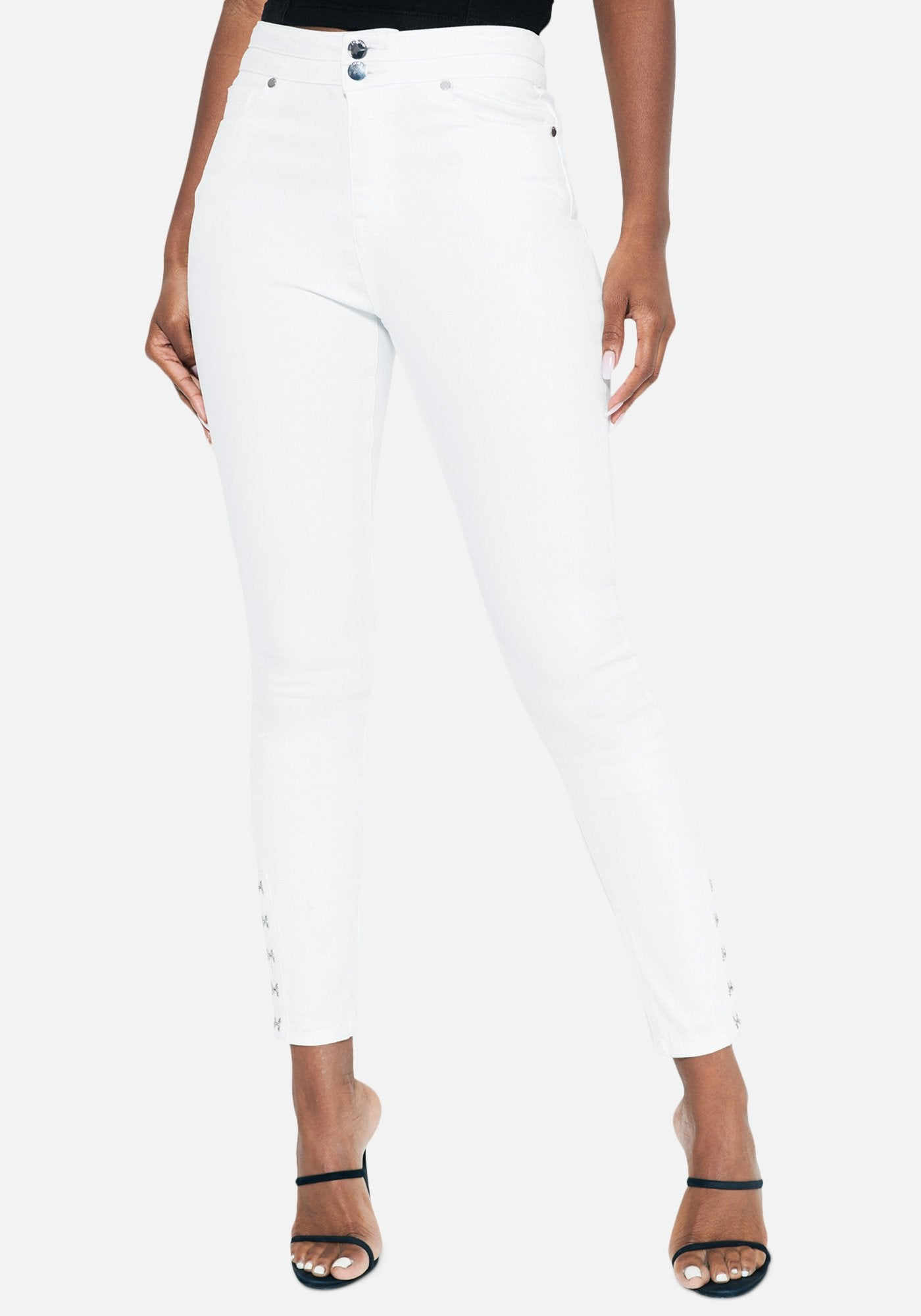 Bebe Women's Hook & Eye Detail Skinny Jeans, Size 25 in WHITE Cotton/Spandex