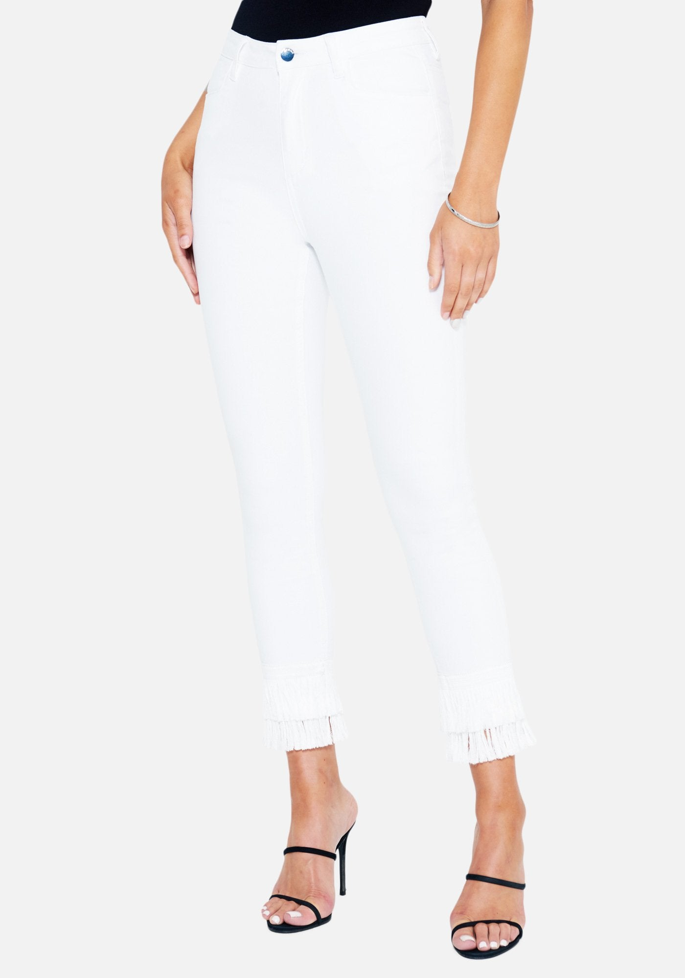 Bebe Women's Fringe Detail Skinny Jeans, Size 25 in White Cotton/Spandex