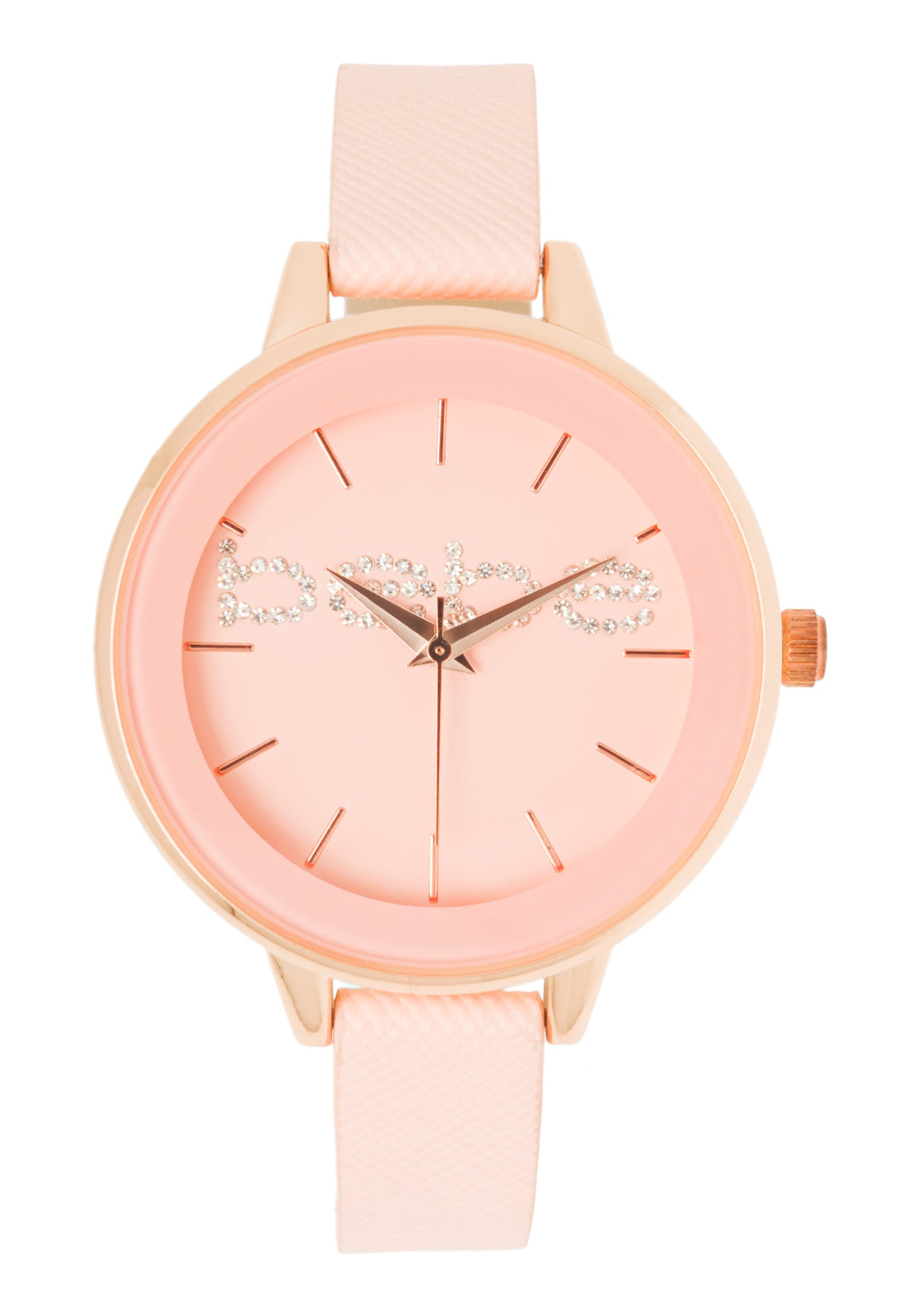 Bebe Women's Faux Leather Strap Watch in ROSE GOLD