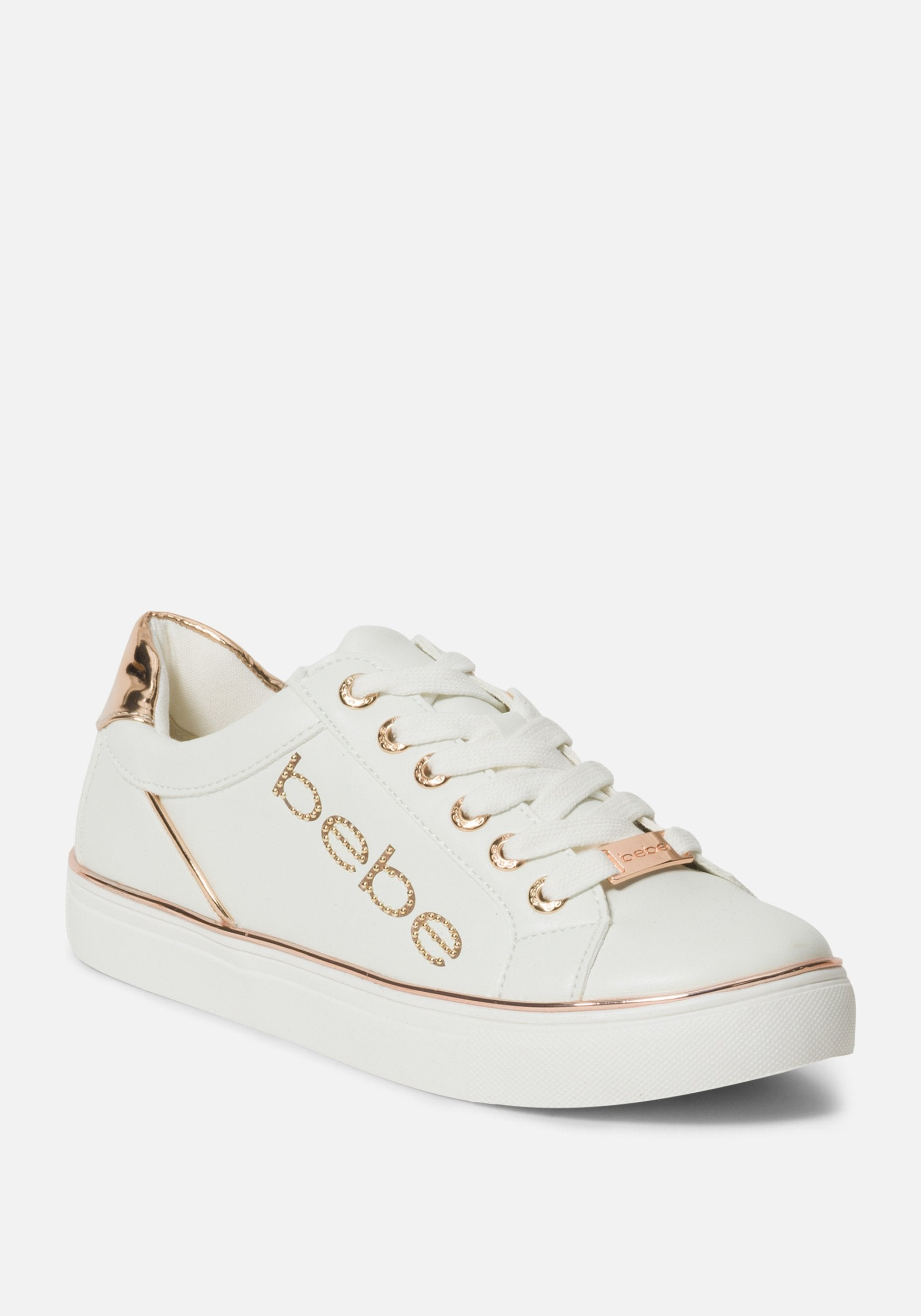Women's Celise Bebe Logo Sneakers, Size 6 in White/Rose Gold Synthetic