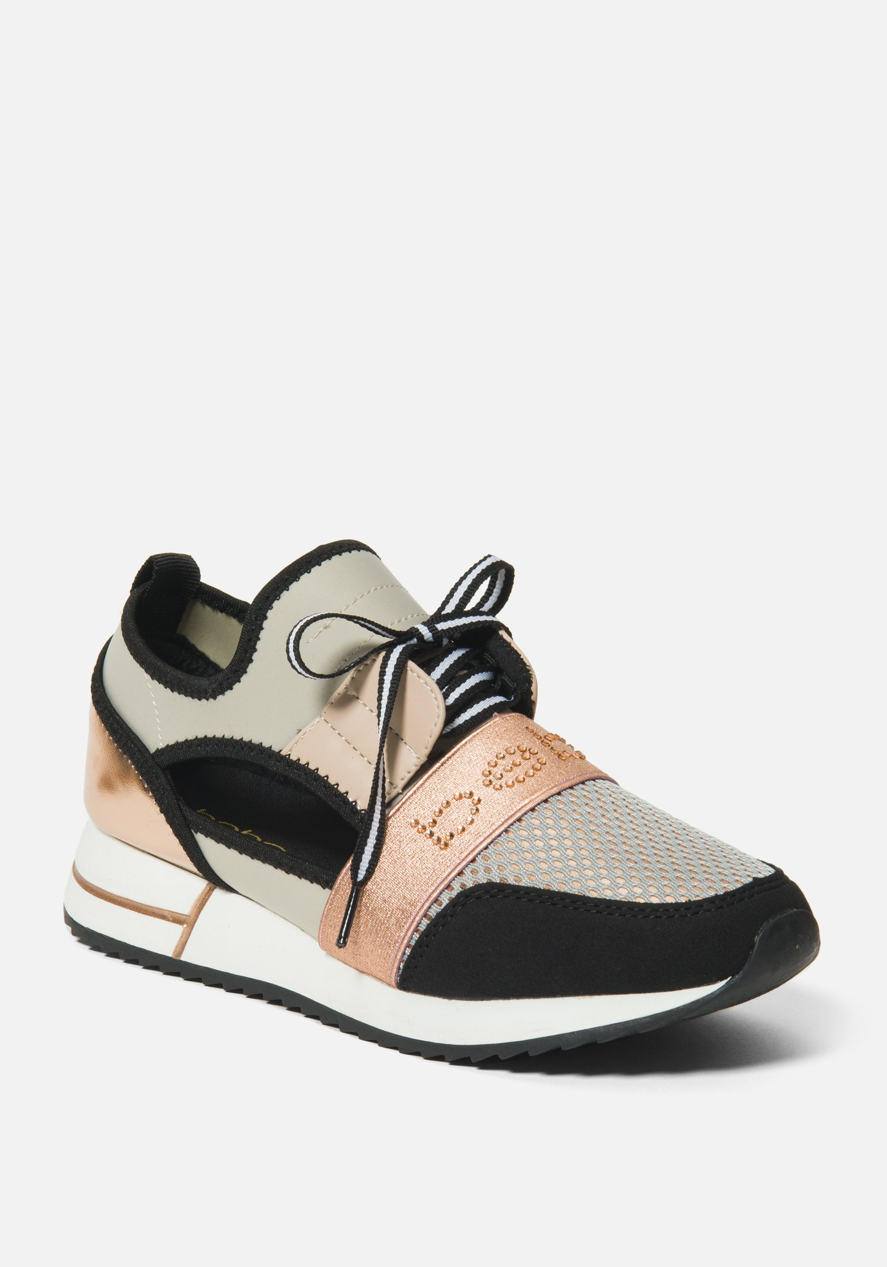 Women's Brienna A Bebe Logo Sneakers, Size 6 in Rose Gold Synthetic