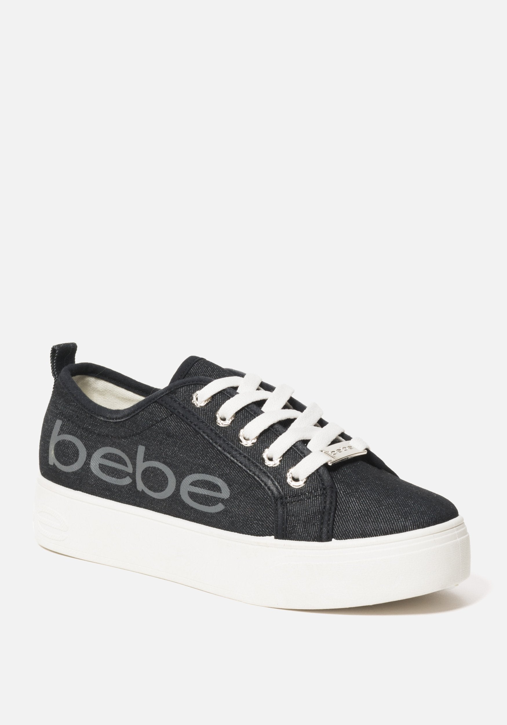 Bebe Women's Destini Platform Sneakers, Size 6 in BLACK DENIM Synthetic