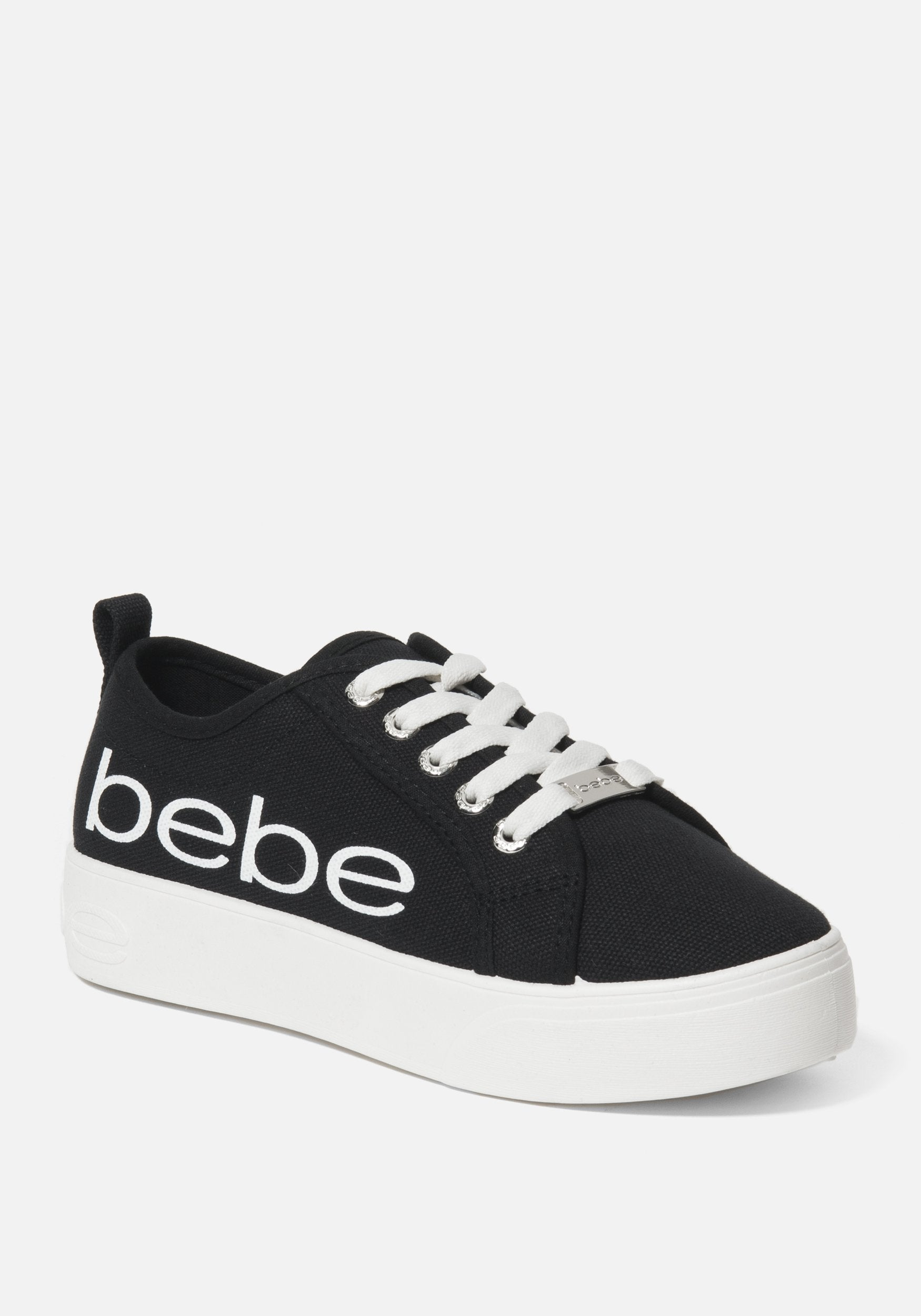 Bebe Women's Destini Platform Sneakers, Size 6 in Black Synthetic