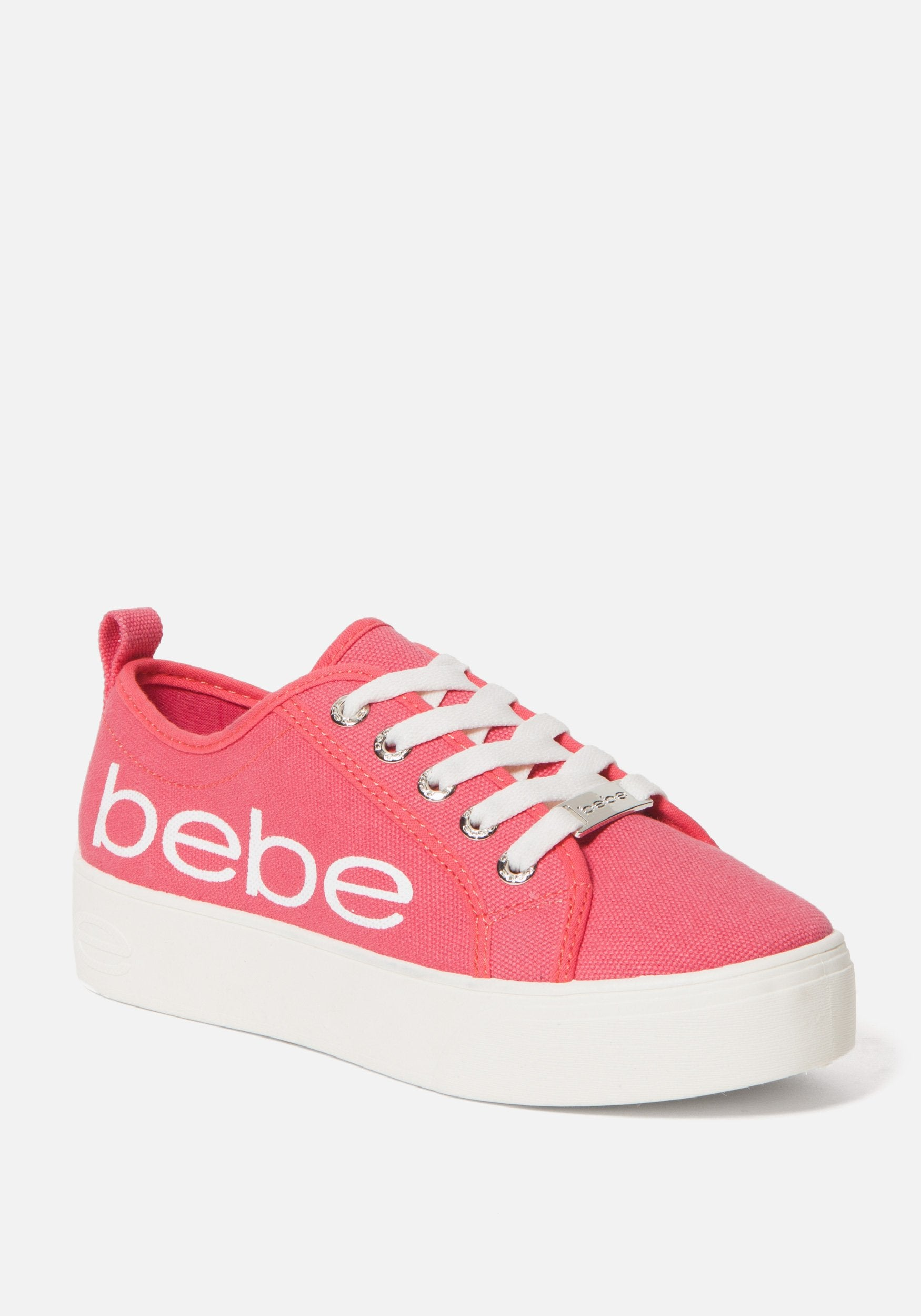 Bebe Women's Destini Platform Sneakers, Size 6 in CORAL CANVAS Synthetic