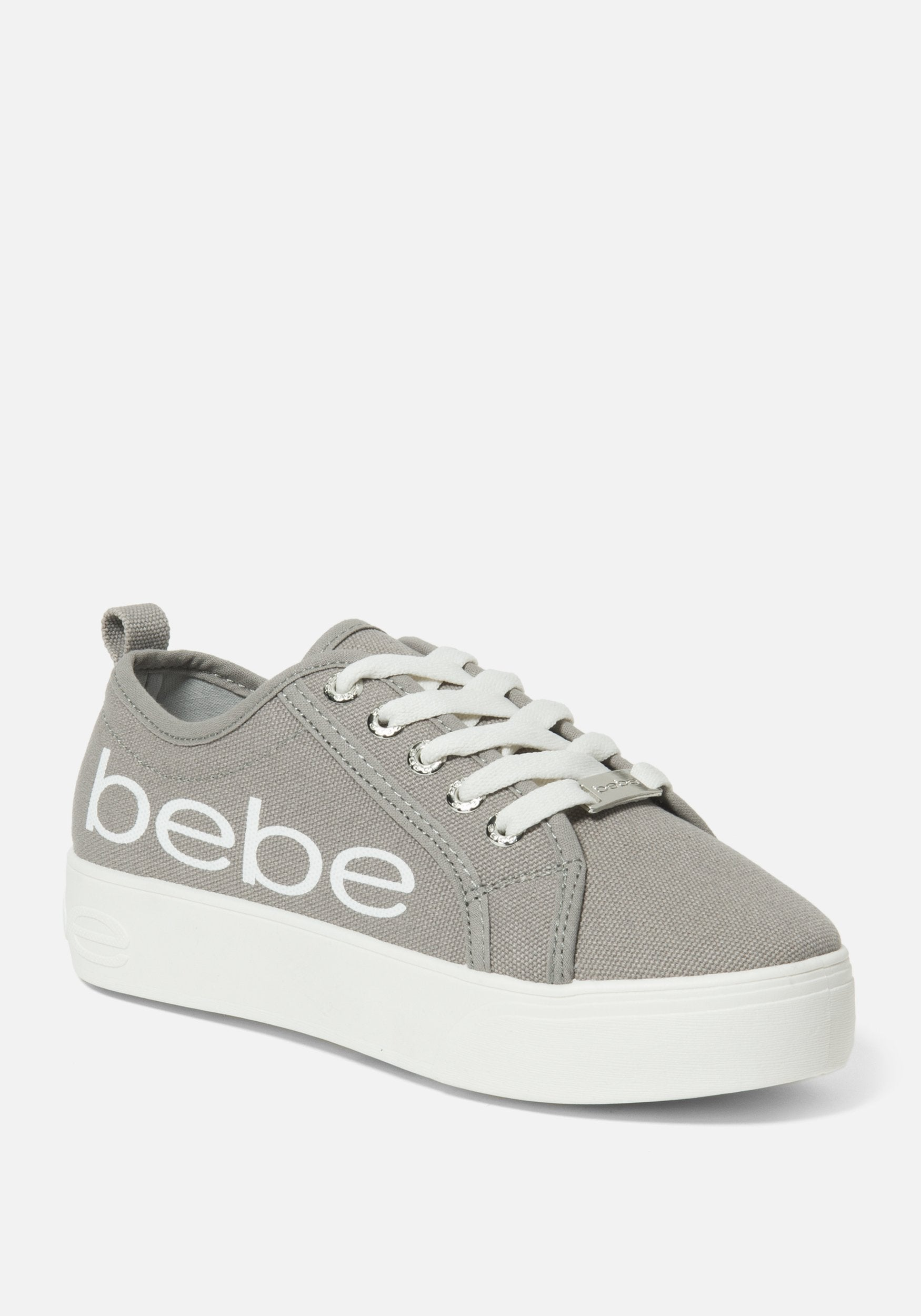 Bebe Women's Destini Platform Sneakers, Size 6 in Grey Synthetic