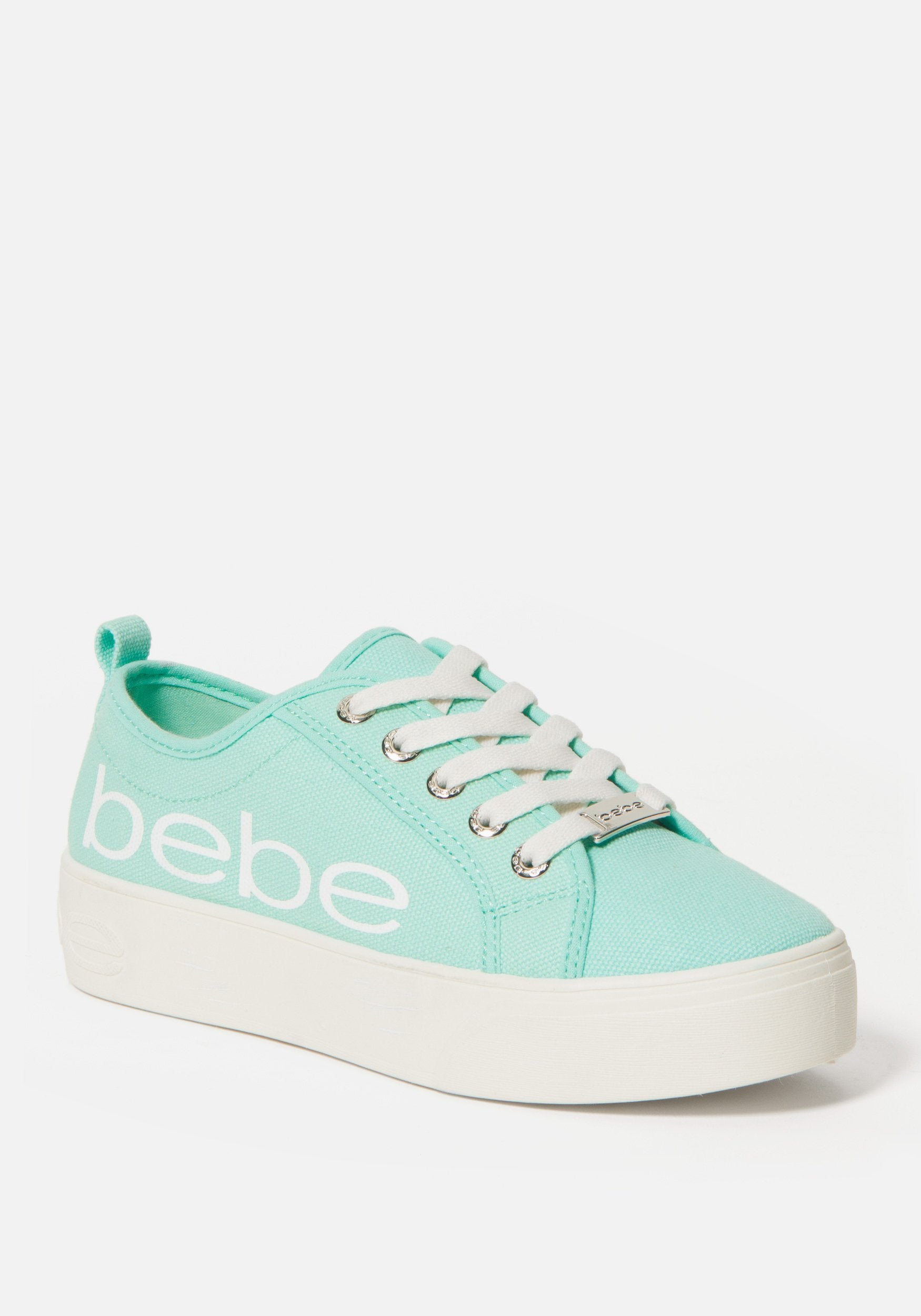 Bebe Women's Destini Platform Sneakers, Size 6 in MINT CANVAS Synthetic