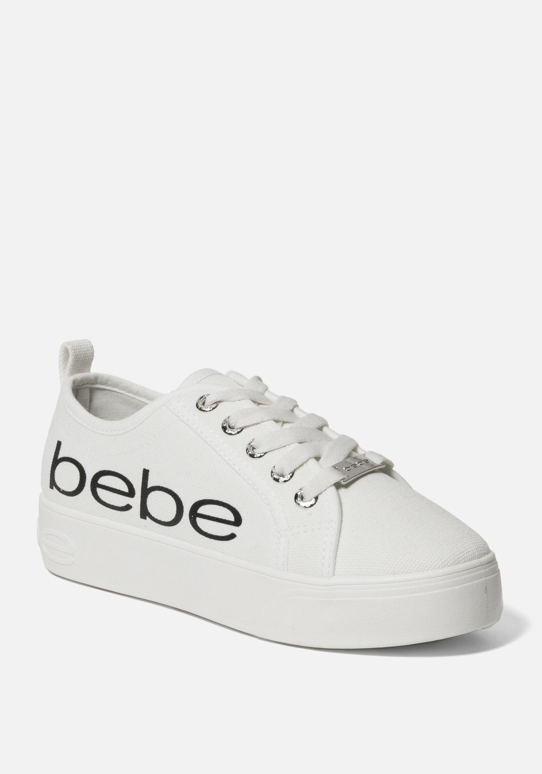 Bebe Women's Destini Platform Sneakers, Size 6 in White Synthetic