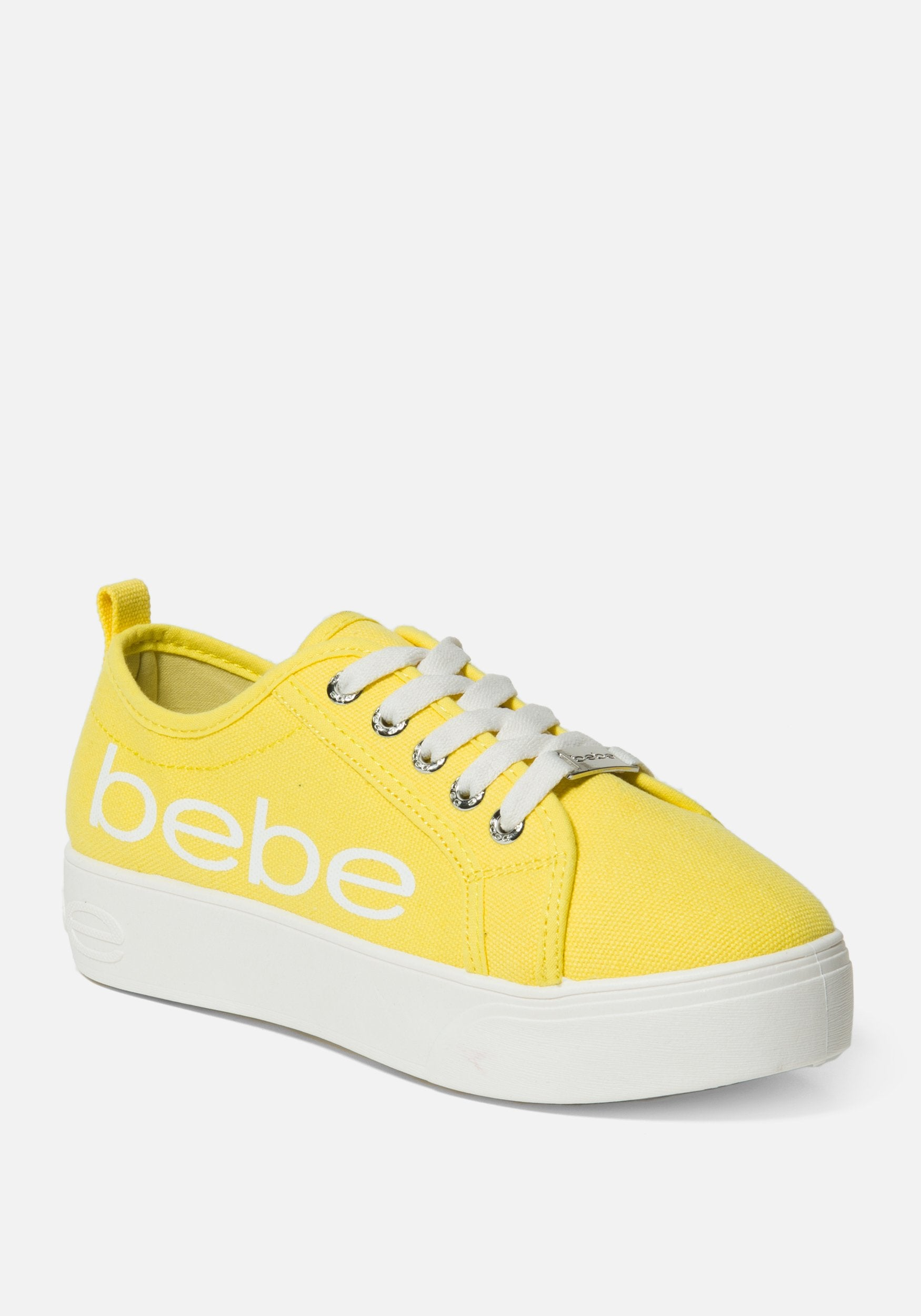 Bebe Women's Destini Platform Sneakers, Size 6 in Yellow Synthetic