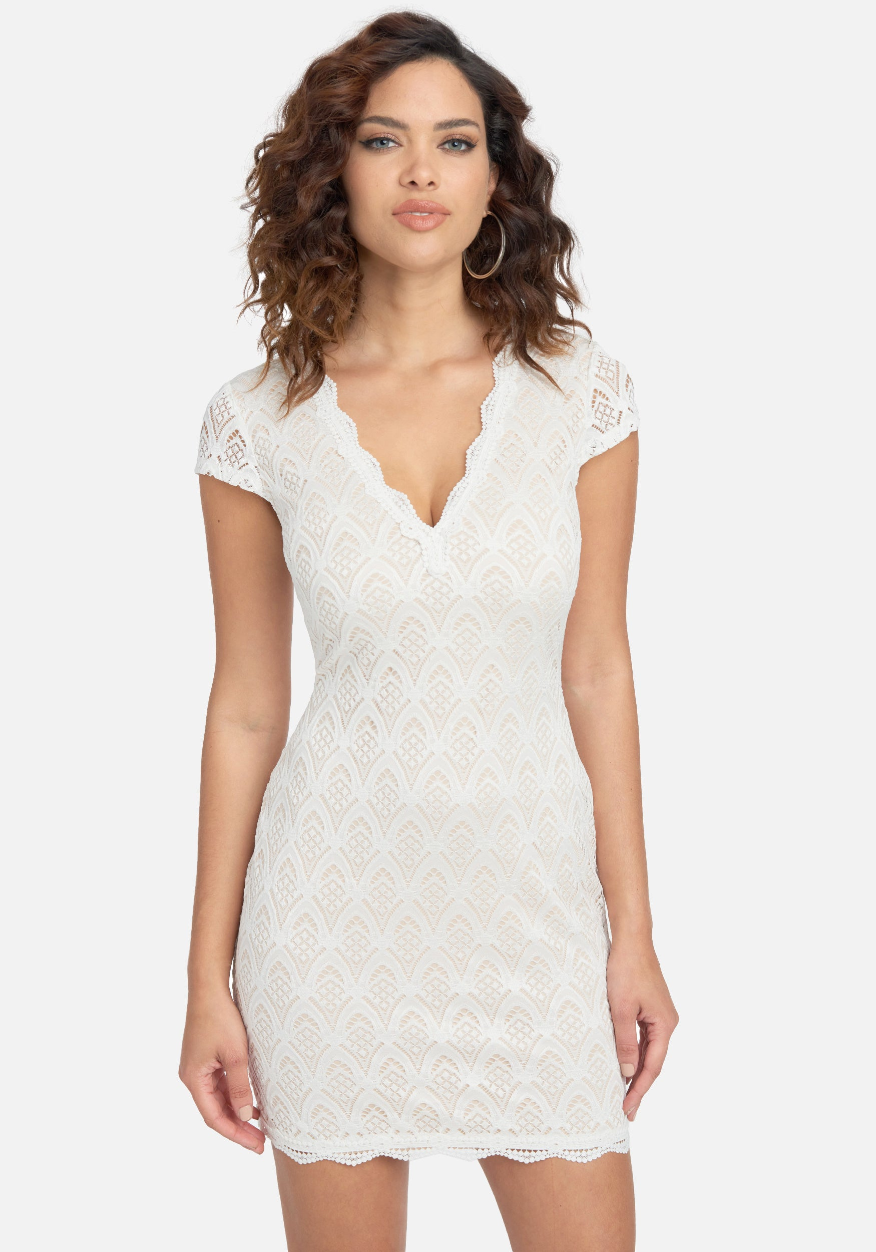 Bebe Women's Capped Sleeve Lace Dress, Size XXS in White/Nude Polyester/Spandex/Nylon