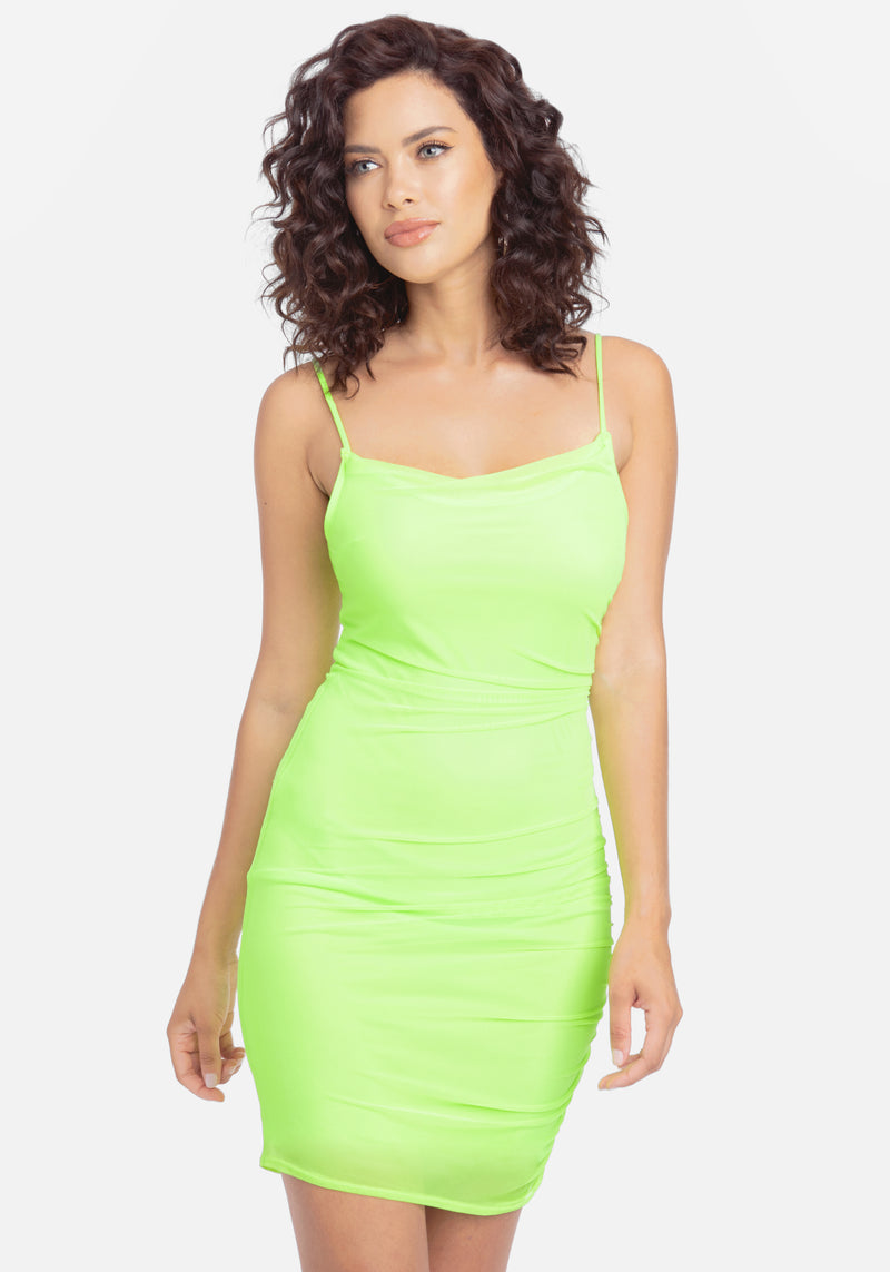Ruched Power Mesh Mini Dress