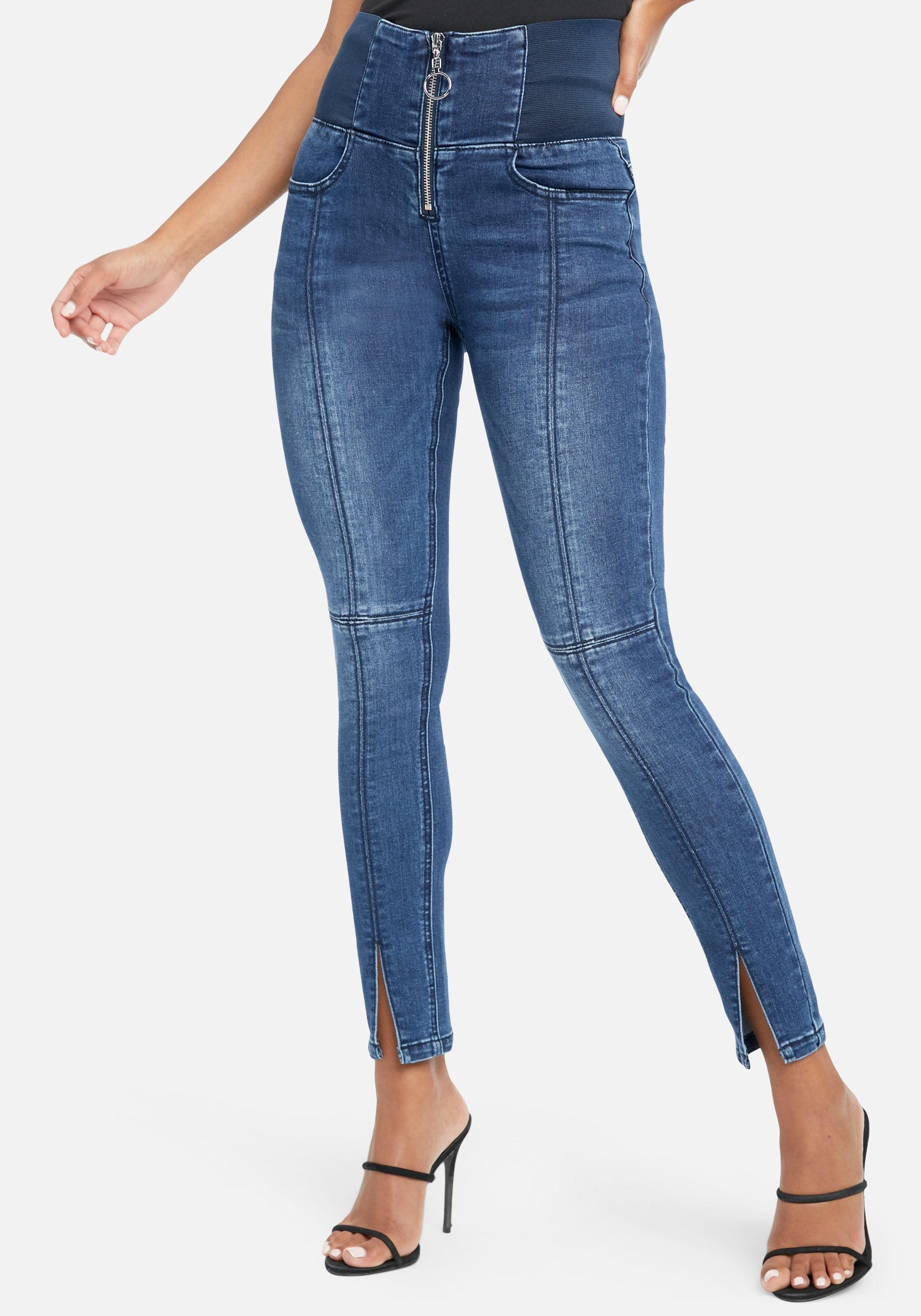Bebe Women's Elastic Waist Band Skinny Jeans, Size 25 in Med Indigo Wash Cotton/Spandex/Viscose