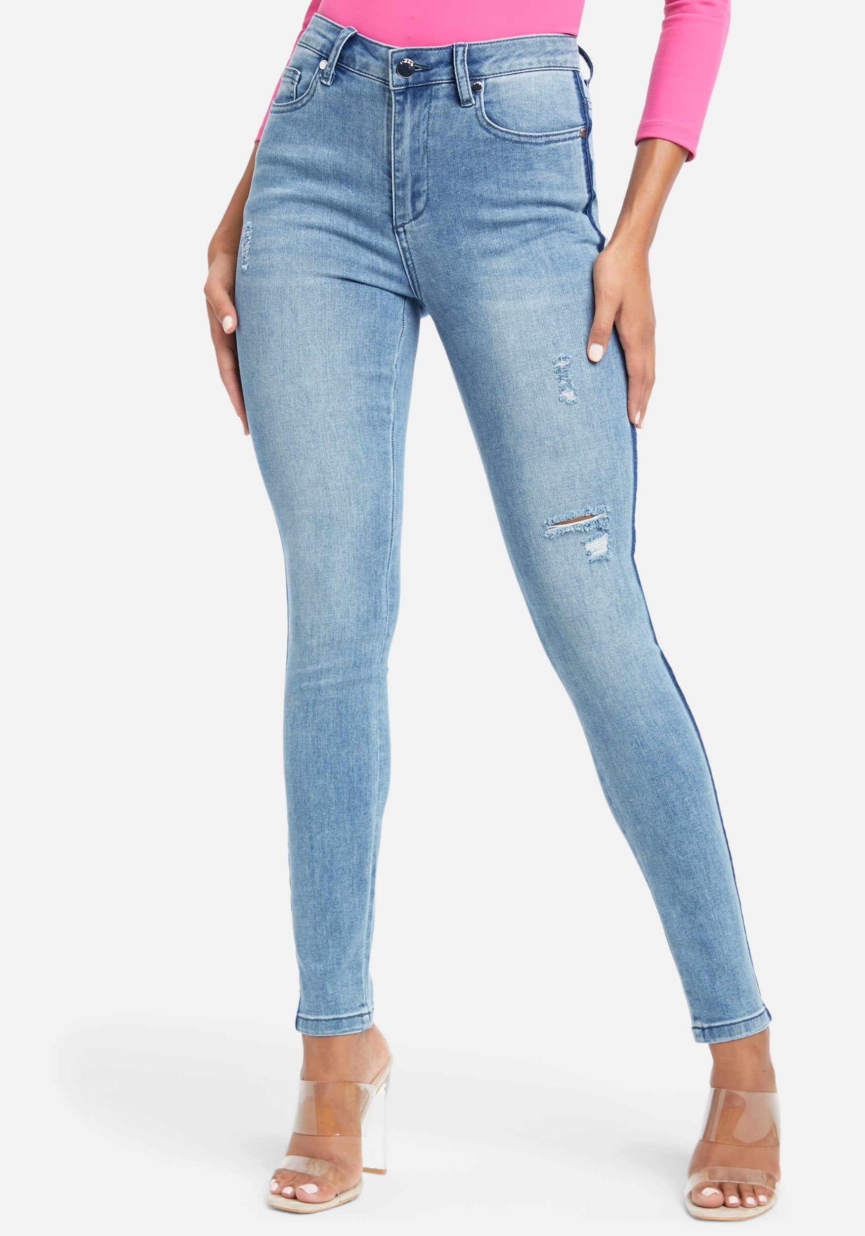 Bebe Women's Whisker Wash Skinny Jeans, Size 25 in Light Blue Wash Cotton/Spandex