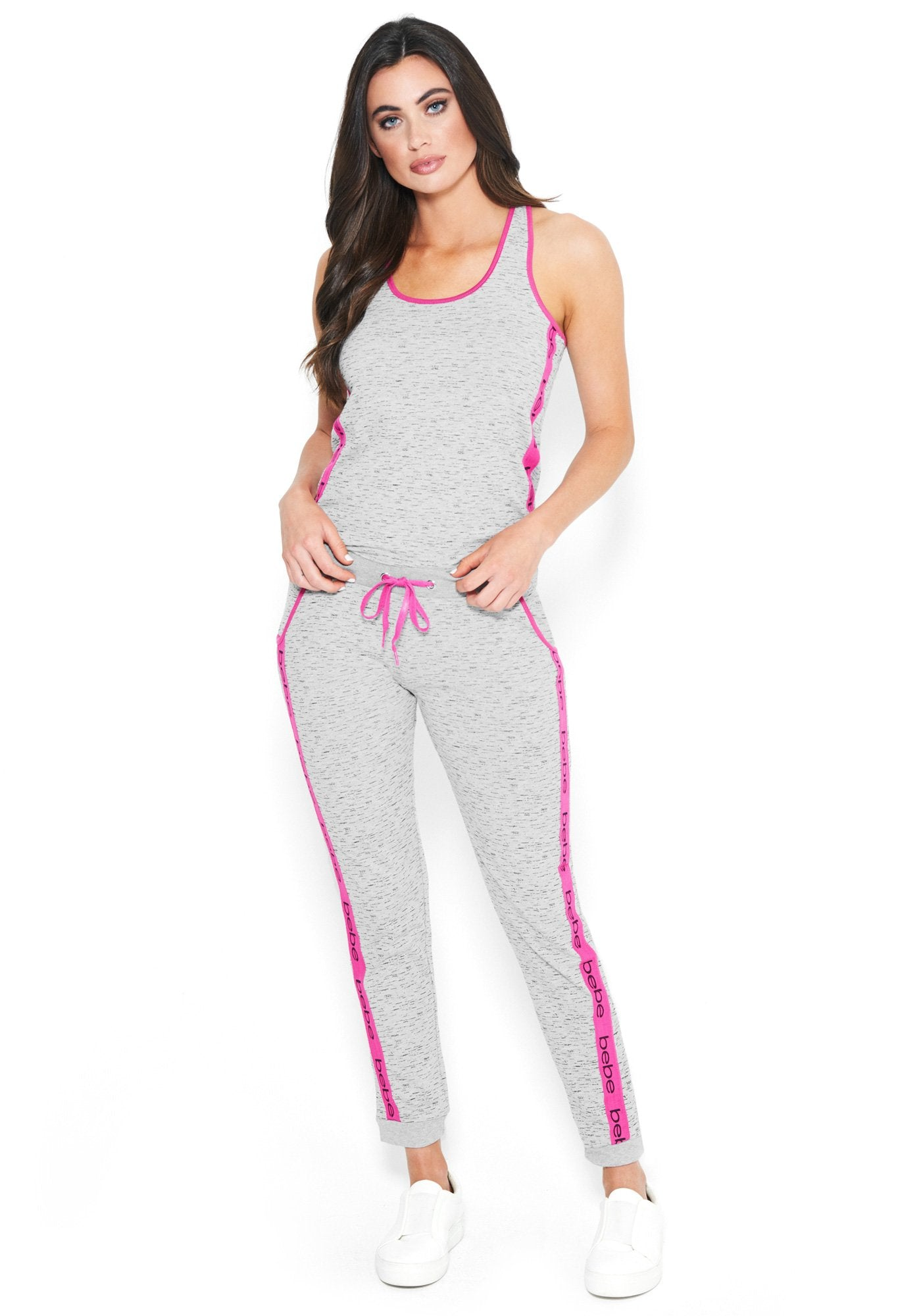 Women's Bebe Logo Constrast Pant Set, Size Small in Heather Grey Cotton