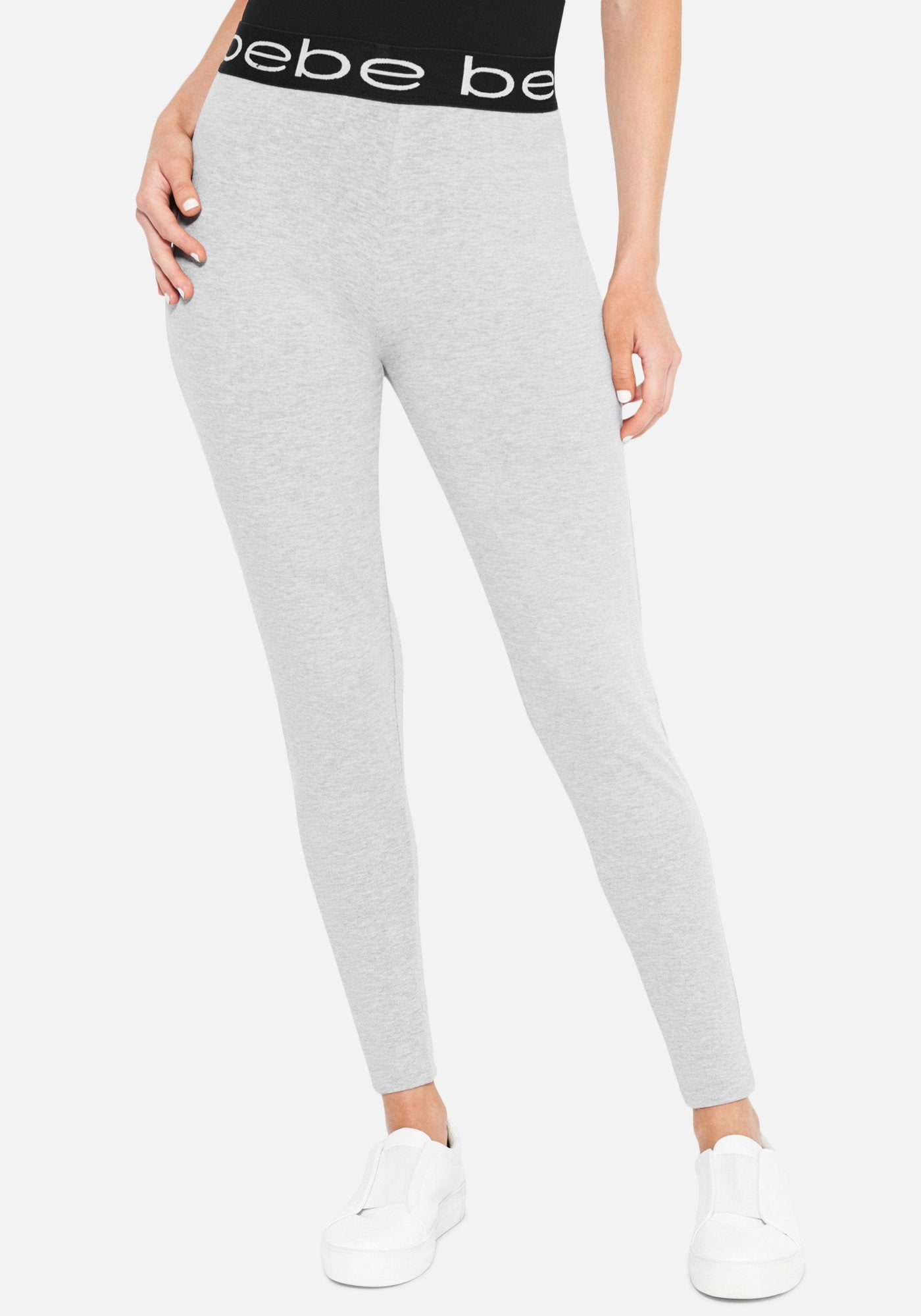 Women's Bebe Logo Lounge Pant, Size Small in Heather Grey Cotton