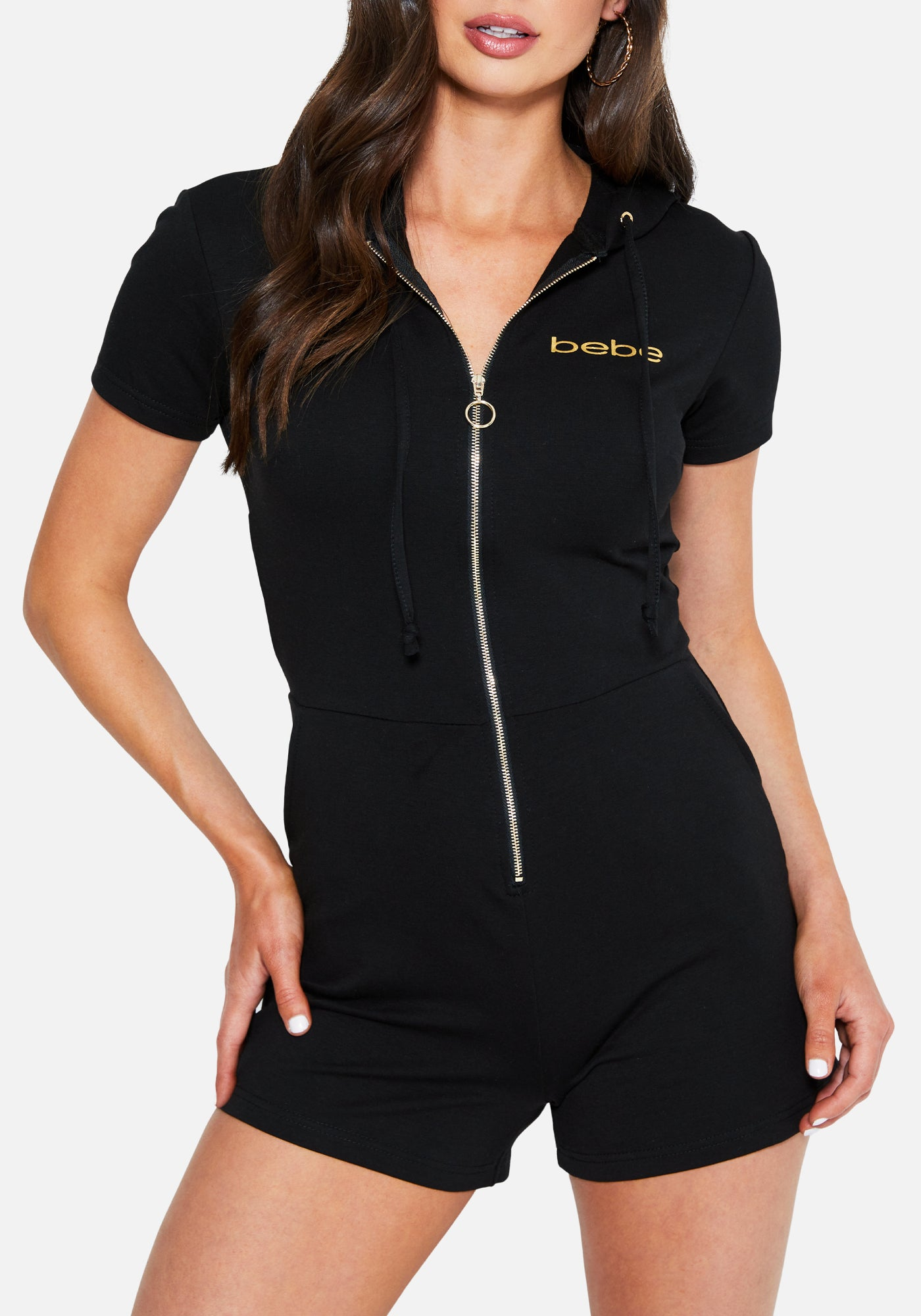 Women's Bebe Logo French Terry Romper, Size Small in BLACK Cotton/Spandex