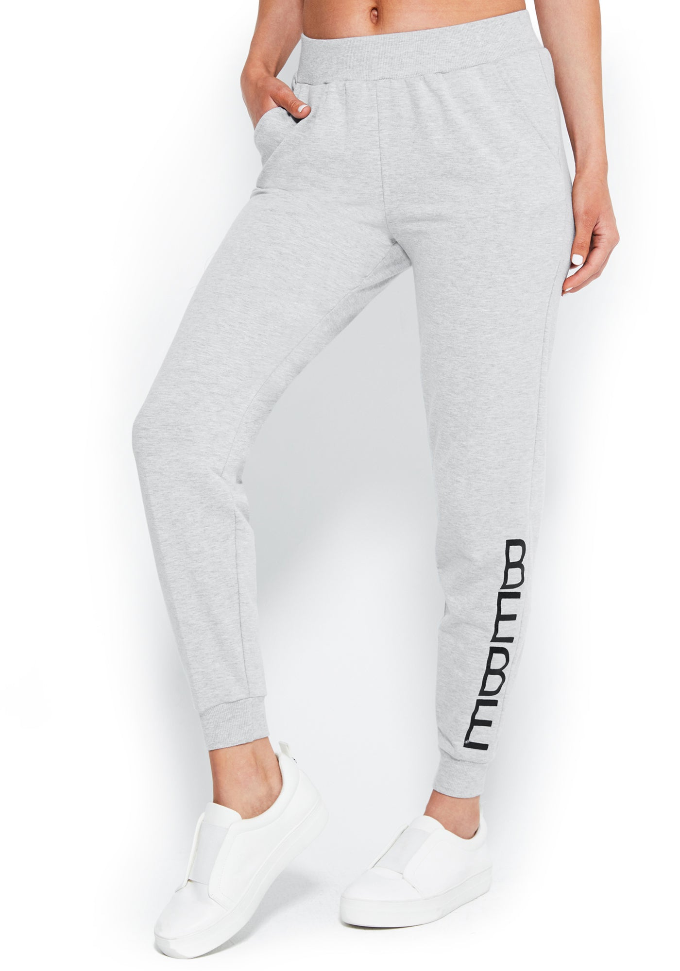 Women's Bebe Logo French Terry Pant, Size Small in GREY HEATHER Cotton/Spandex