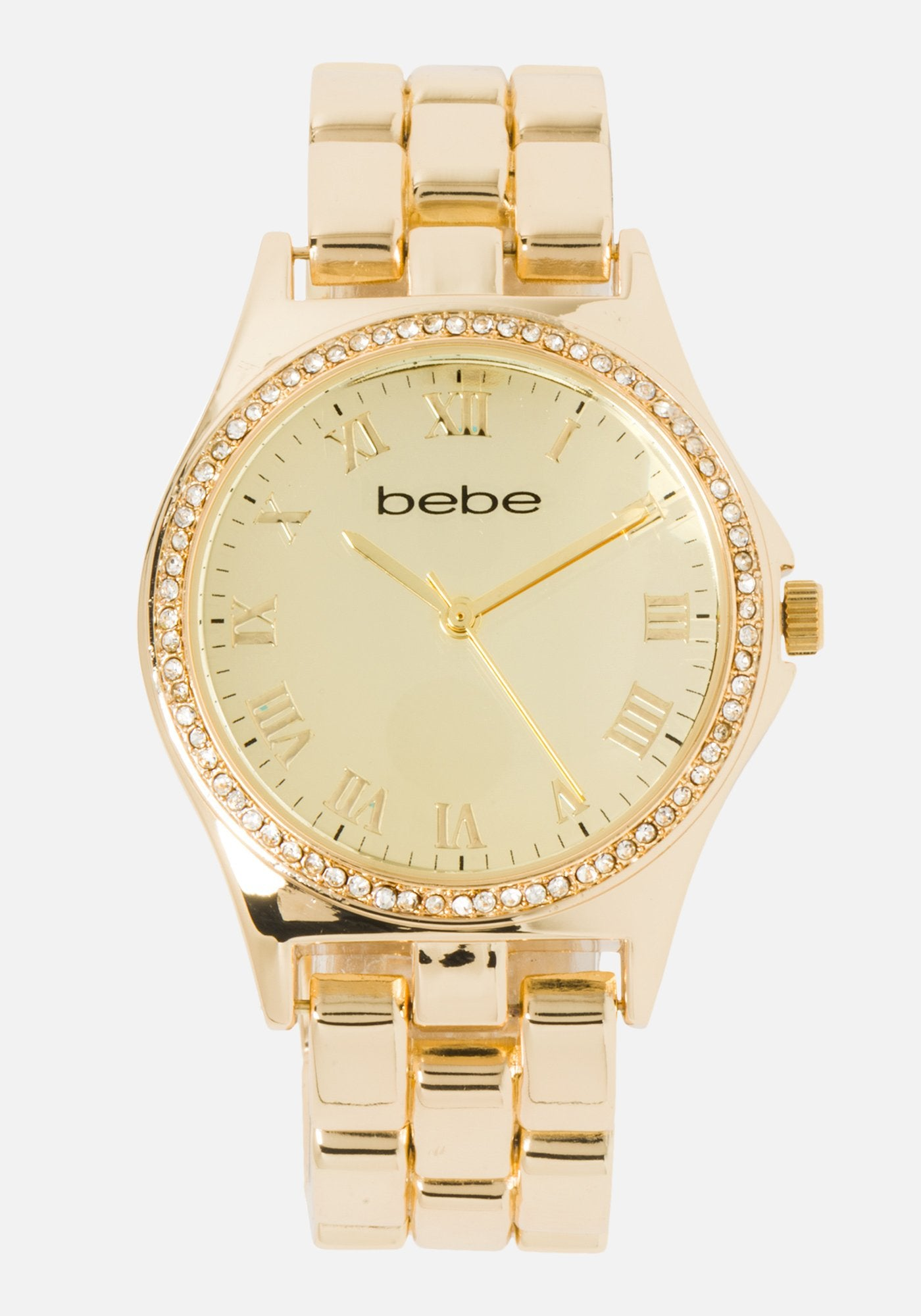 Women's Bebe Embossed Crystal Watch in BLACK GOLD Metal