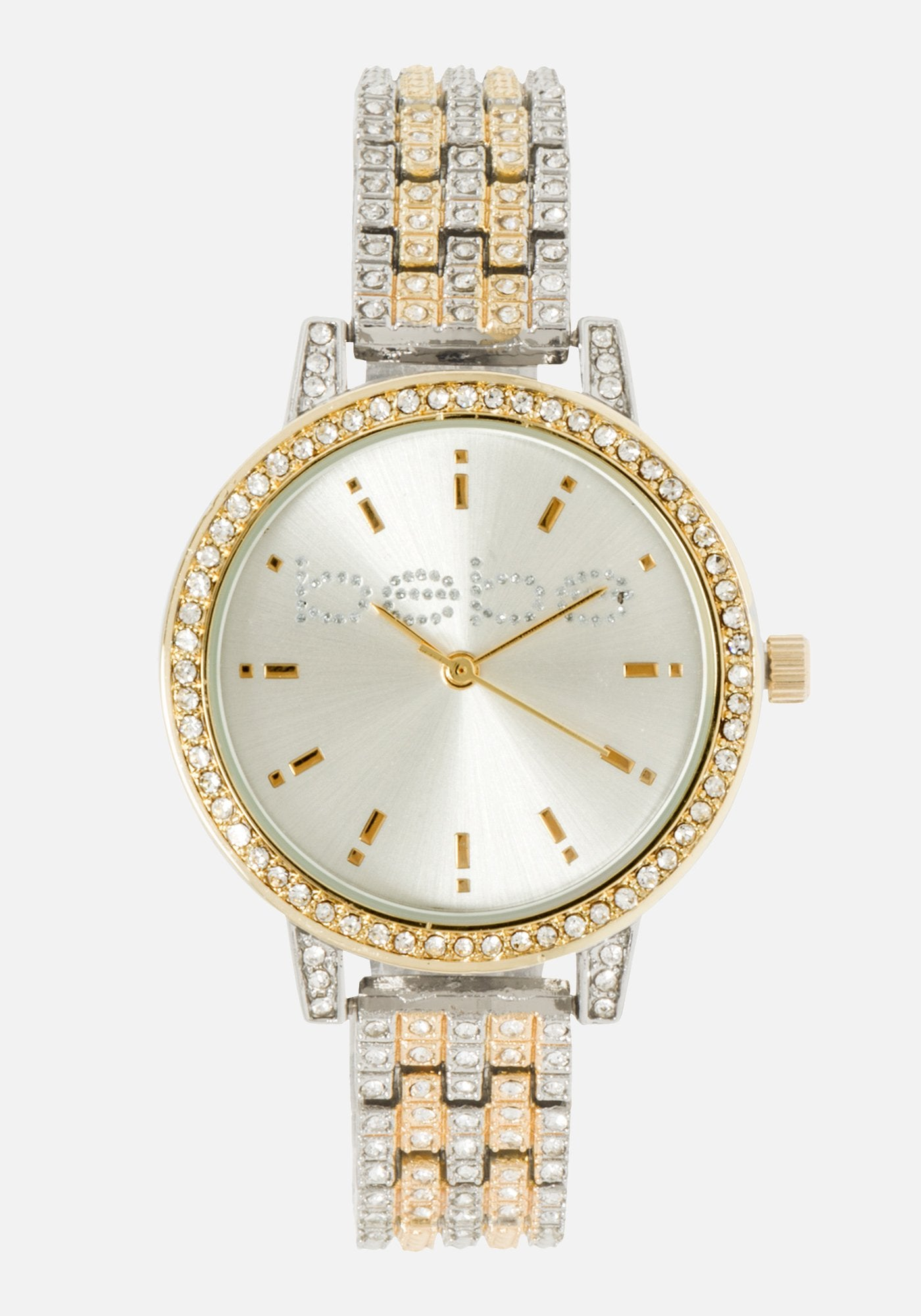 Women's Bebe Crystal 2 Tone Watch in SILVER GOLD Metal