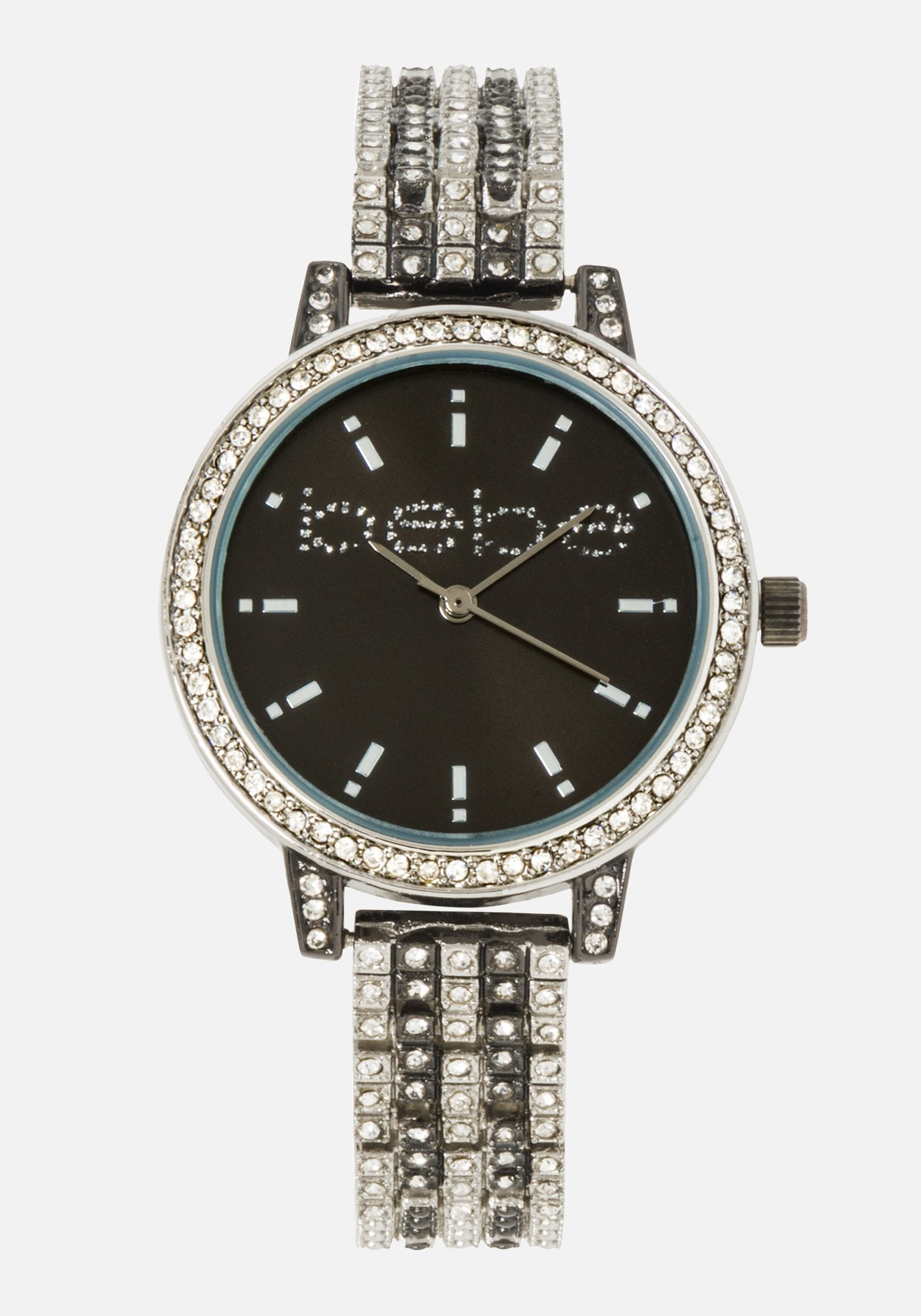 Women's Bebe Crystal 2 Tone Watch in SILVER BLACK Metal