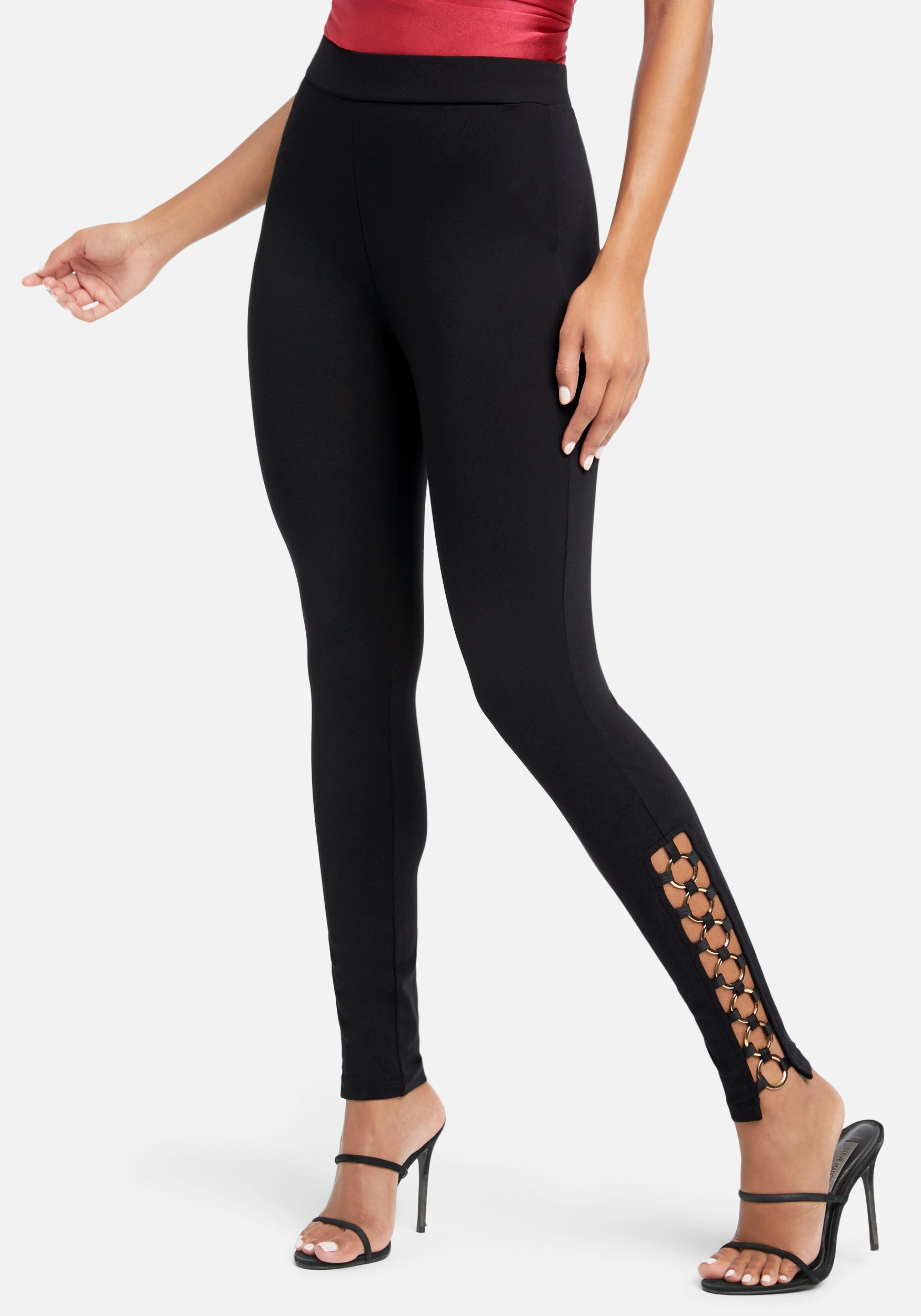 Bebe Women's Ankle Detail Legging, Size XXS in Black Metal/Spandex/Nylon